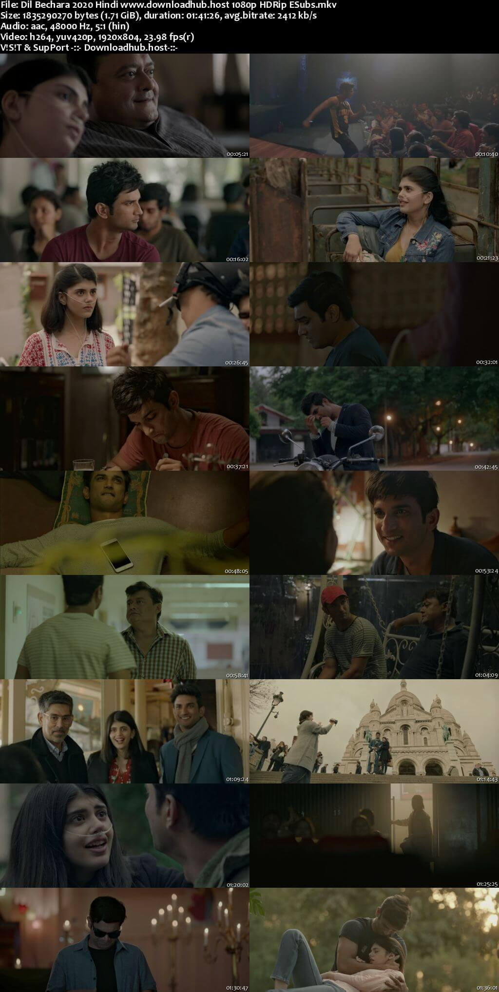 Dil Bechara 2020 Hindi 1080p HDRip ESubs