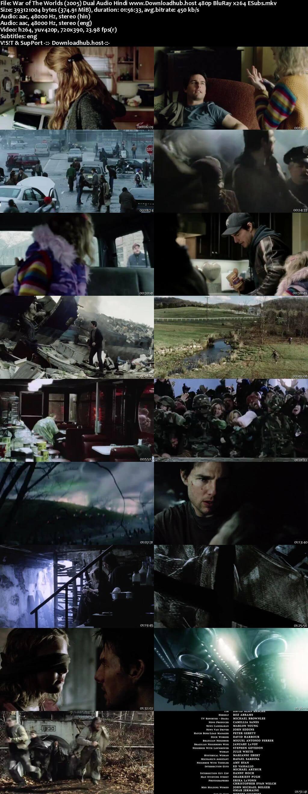 War of the Worlds 2005 Hindi Dual Audio 350MB BluRay 480p ESubs