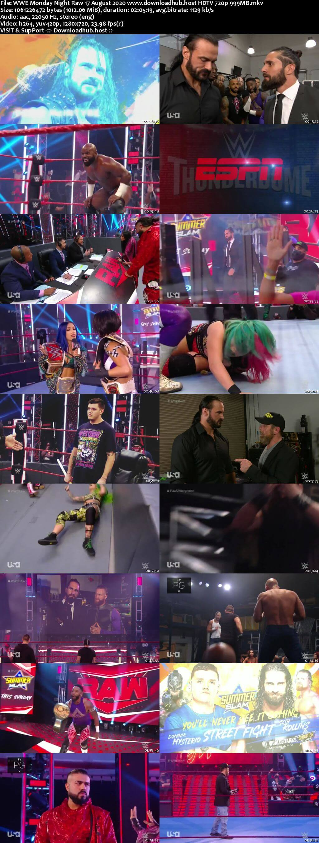 WWE Monday Night Raw 17th August 2020 720p 500MB HDTVRip 480p