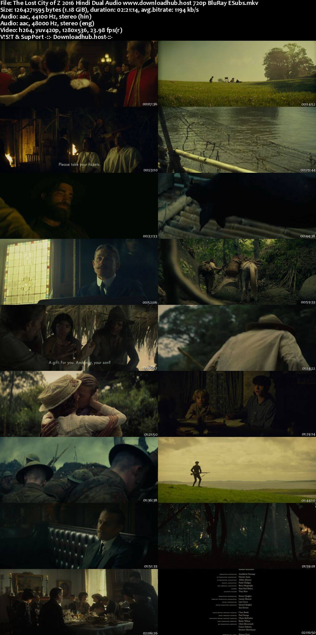 The Lost City of Z 2016 Hindi Dual Audio 720p BluRay ESubs