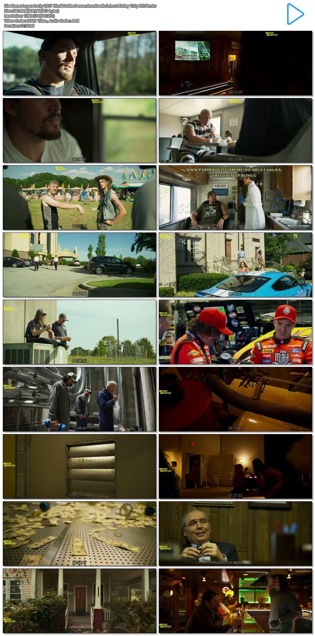 Logan Lucky 2017 Hindi Dubbed 550MB BluRay 720p HEVC