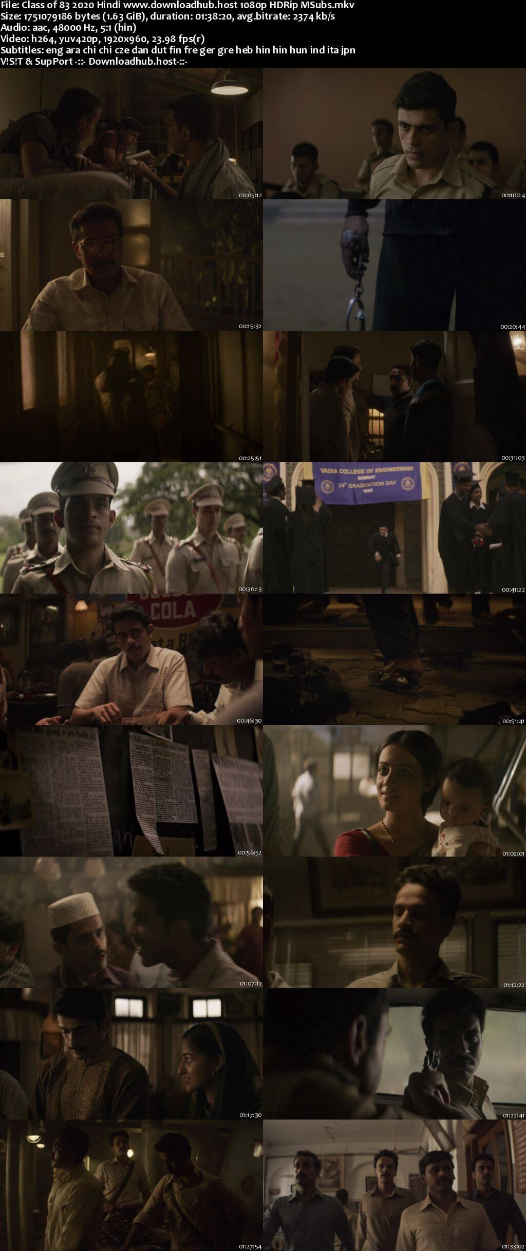 Class of 83 2020 Hindi 1080p HDRip MSubs