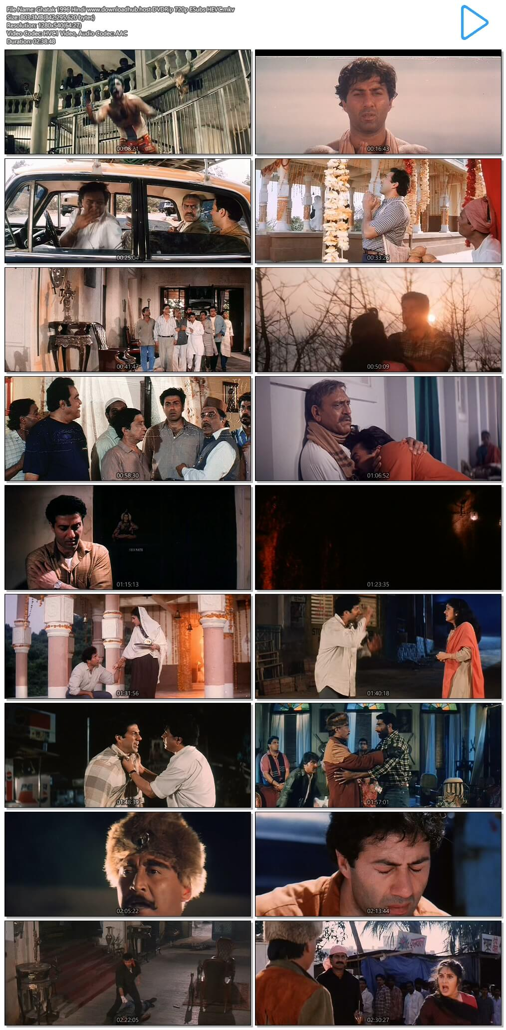 Ghatak 1996 Hindi 800MB DVDRip 720p ESubs HEVC