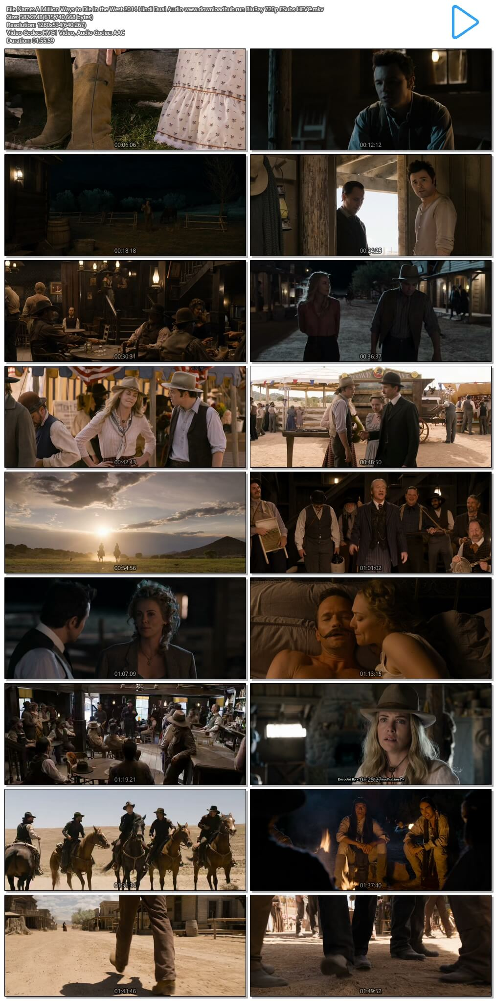 A Million Ways to Die in the West 2014 Hindi Dual Audio 550MB BluRay 720p ESubs HEVC