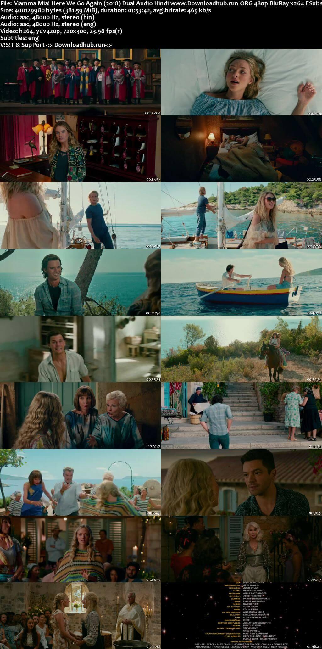 Mamma Mia Here We Go Again 2018 Hindi Dual Audio 350MB BluRay 480p ESubs