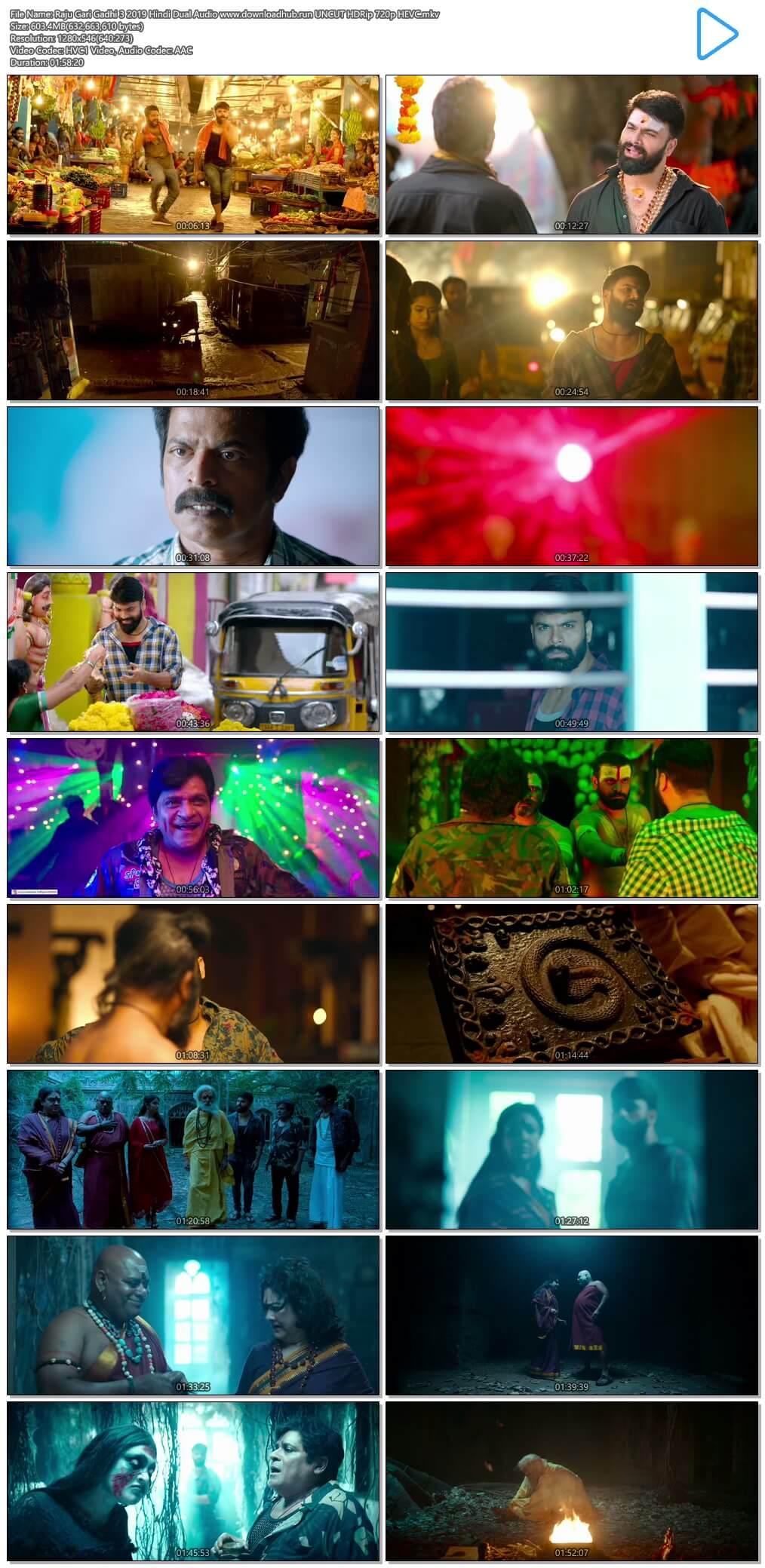 Raju Gari Gadhi 3 2019 Hindi Dual Audio 600MB UNCUT HDRip 720p HEVC