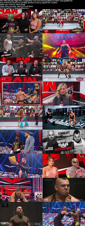 WWE Monday Night Raw 21st September 2020 720p 500MB HDTVRip 480p