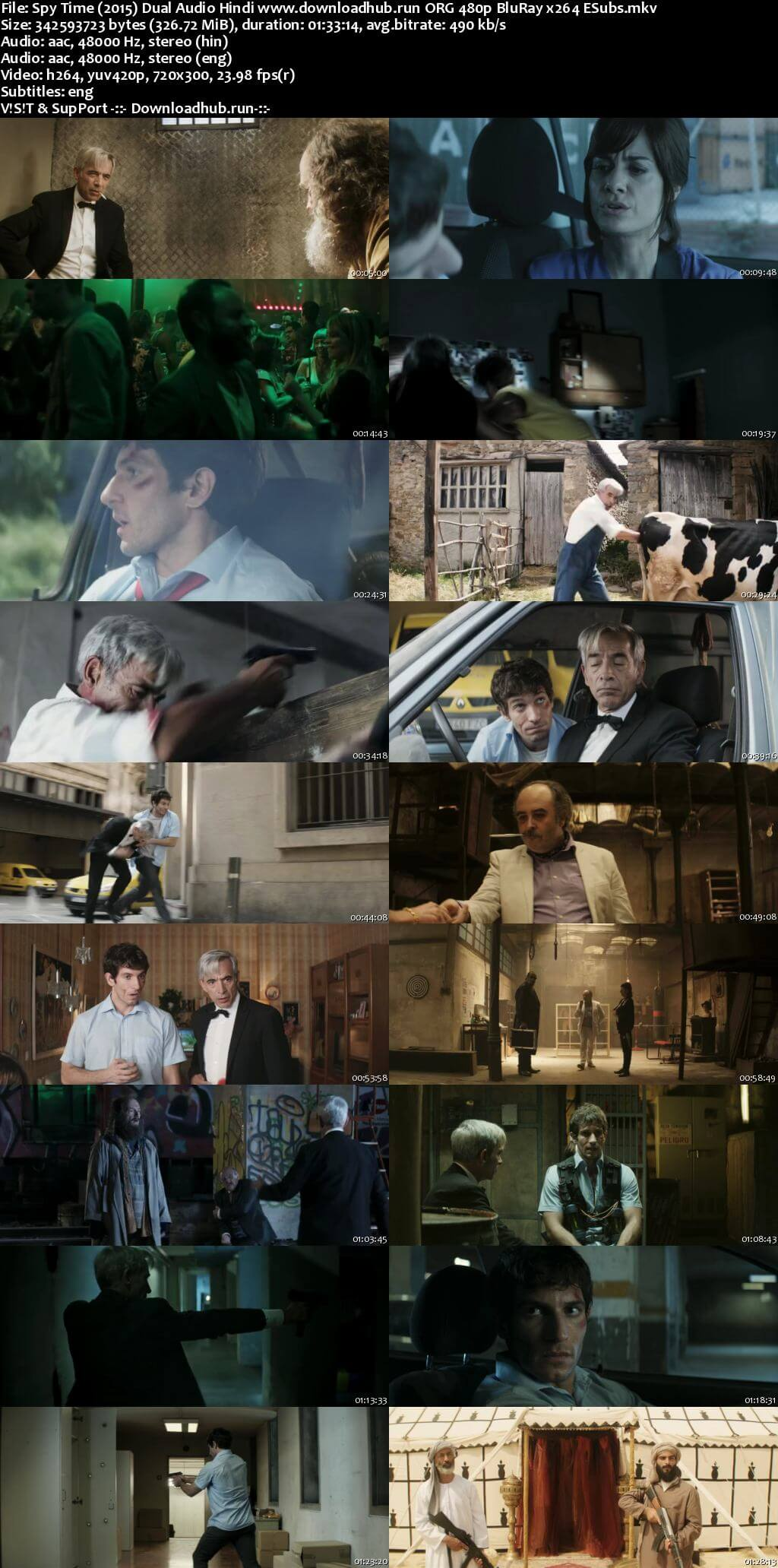 Spy Time 2015 Hindi Dual Audio 300MB BluRay 480p ESubs