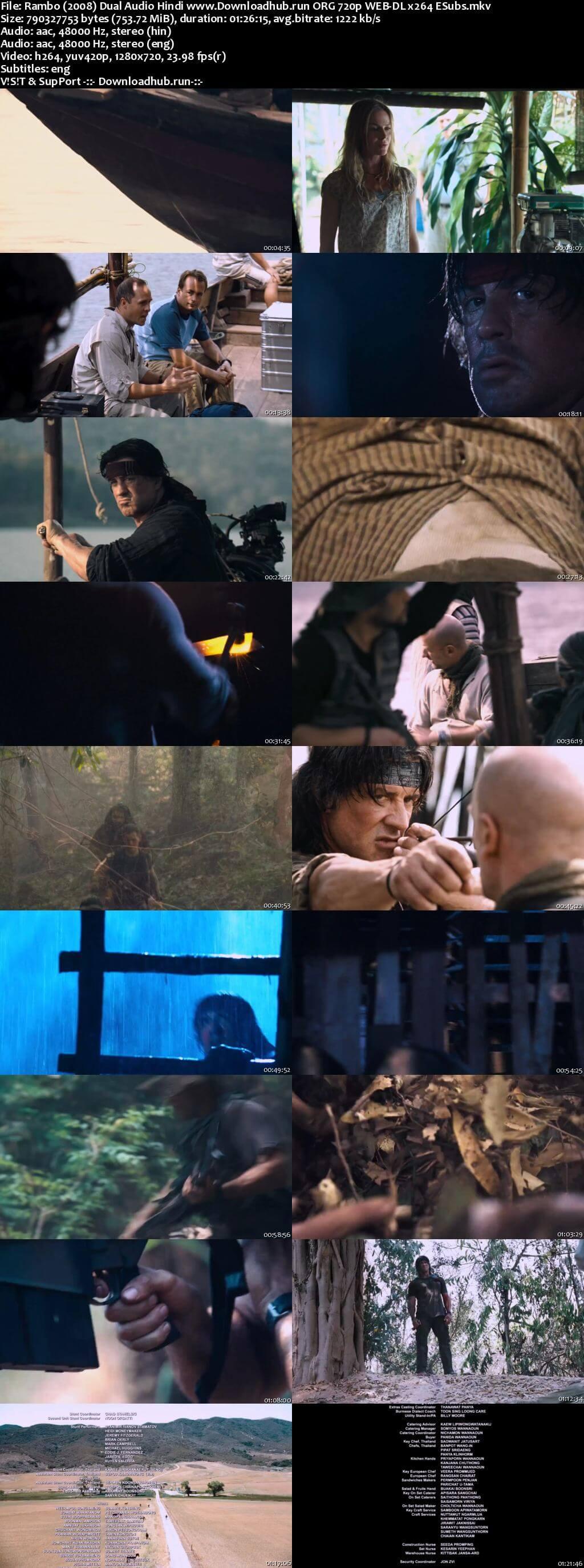 Rambo 2008 Hindi Dual Audio 720p Web-DL ESubs