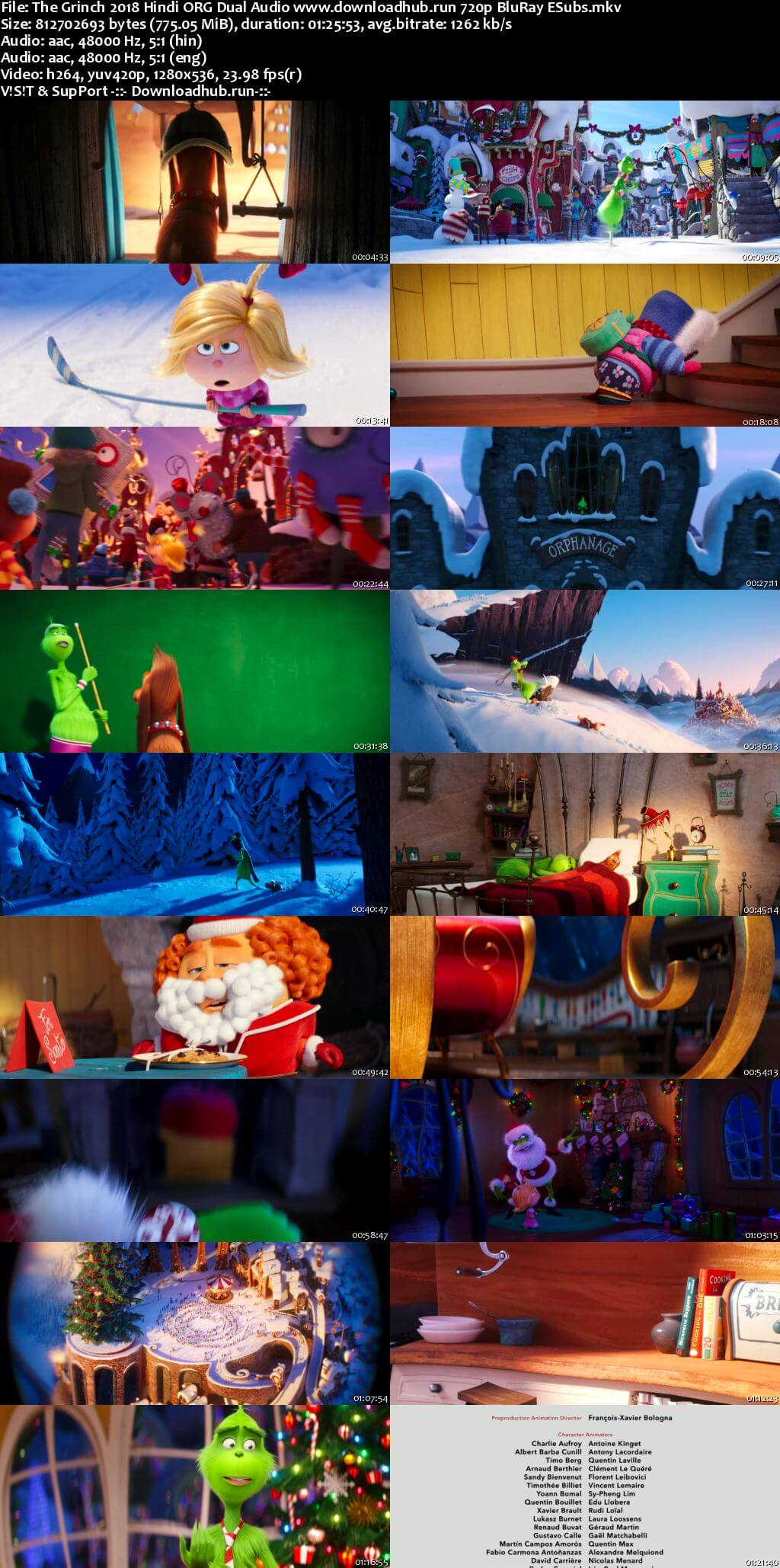 The Grinch 2018 Hindi ORG Dual Audio 720p BluRay ESubs