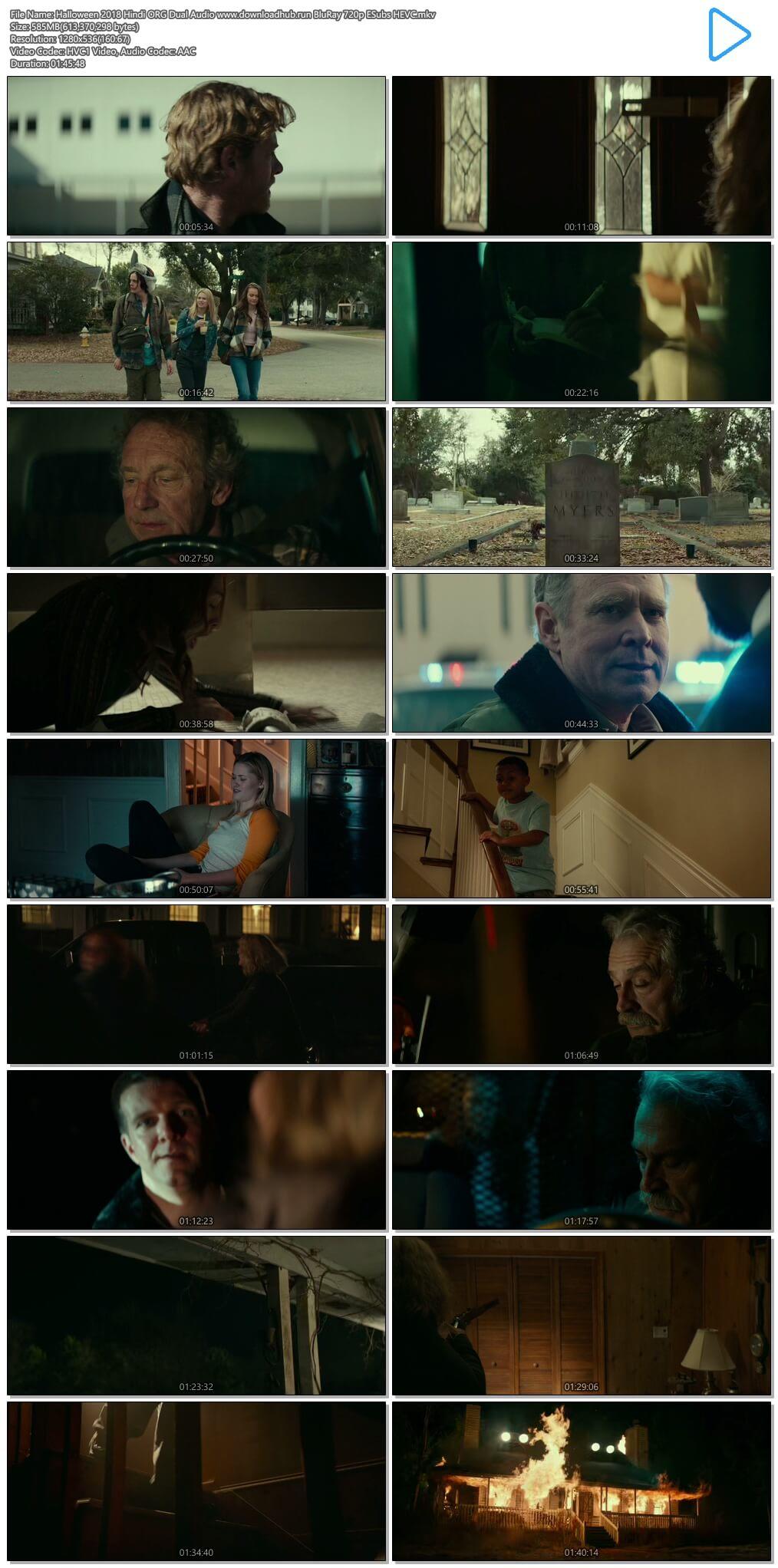Halloween 2018 Hindi ORG Dual Audio 550MB BluRay 720p ESubs HEVC