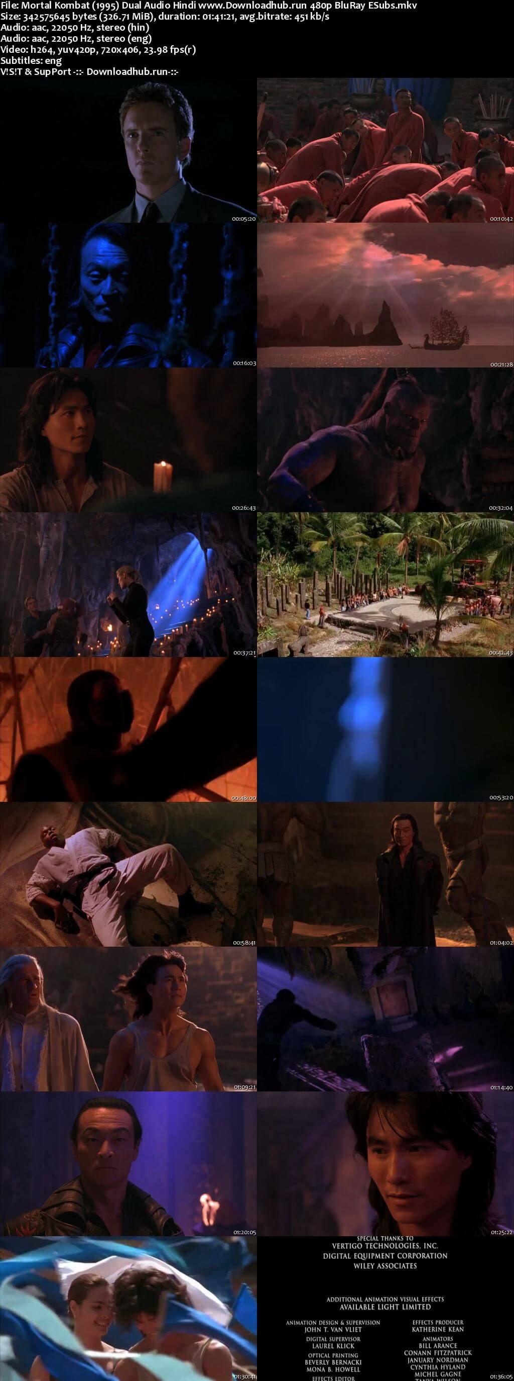Mortal Kombat 1995 Hindi Dual Audio 300MB BluRay 480p ESubs