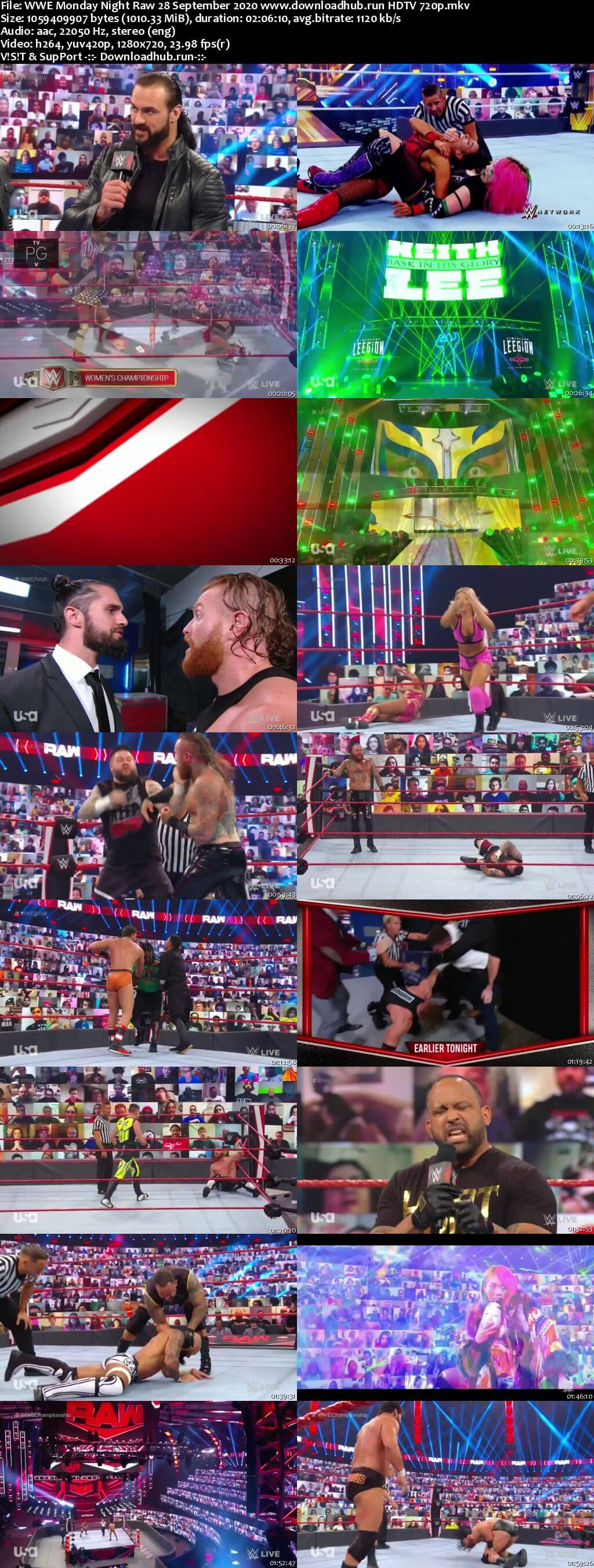 WWE Monday Night Raw 28th September 2020 720p 500MB HDTVRip 480p
