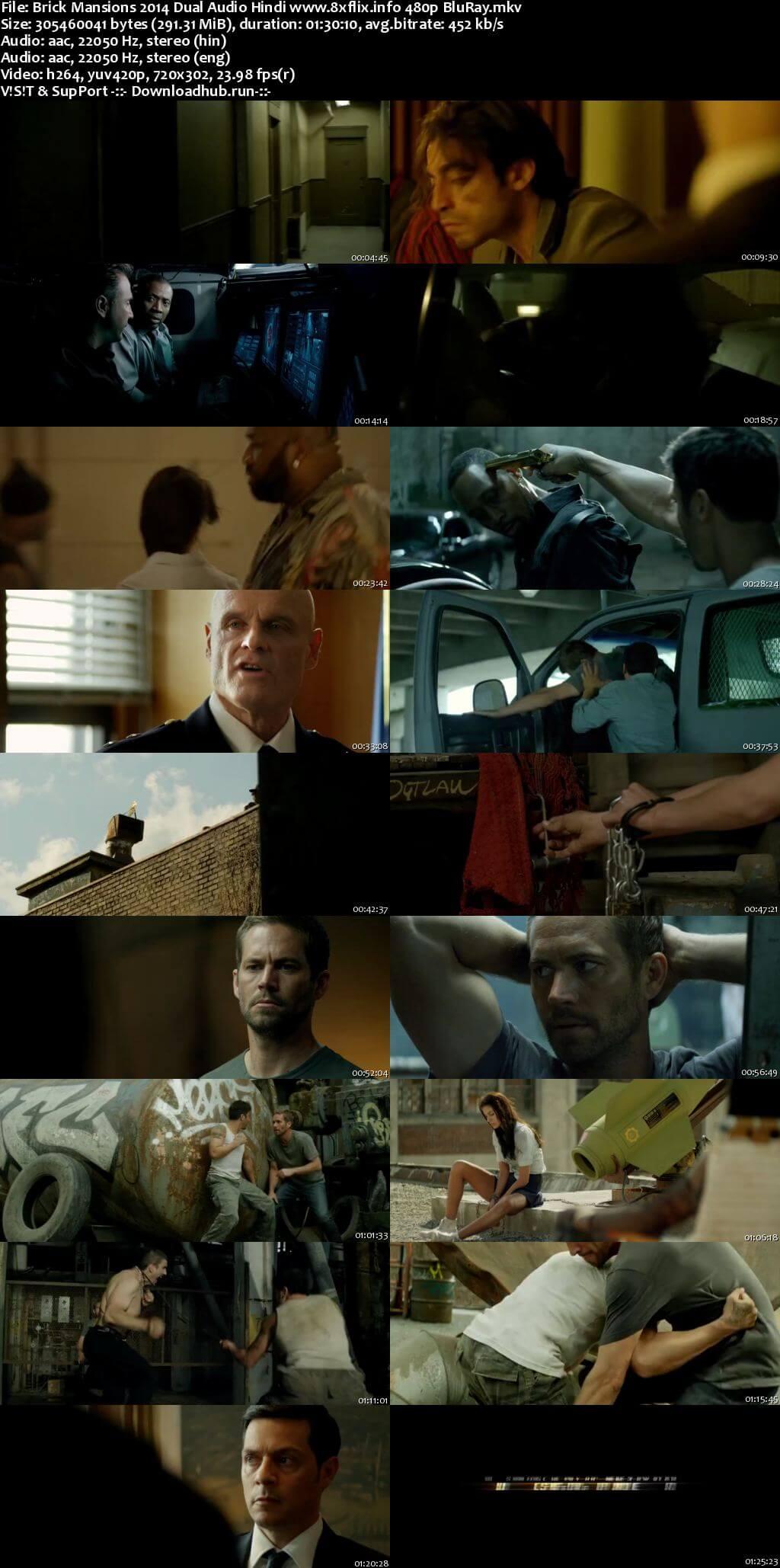Brick Mansions 2014 Hindi Dual Audio 280MB BluRay 480p ESubs