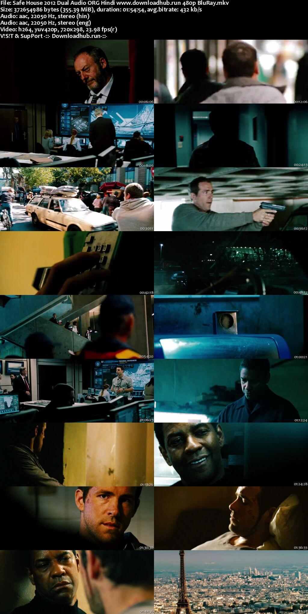 Safe House 2012 Hindi Dual Audio 350MB BluRay 480p