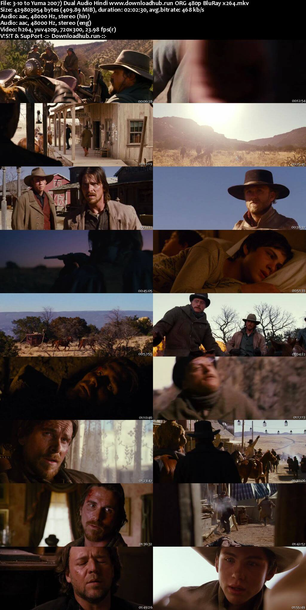 3:10 to Yuma 2007 Hindi Dual Audio 400MB BluRay 480p