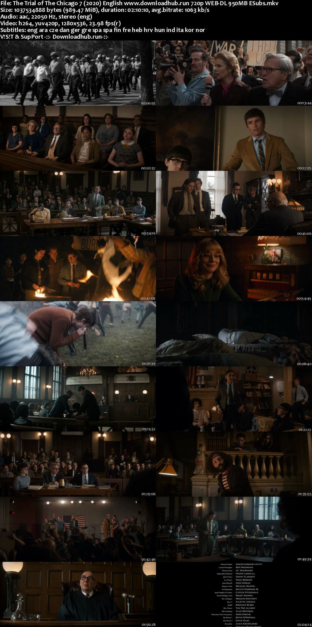 The Trial of the Chicago 7 2020 English 720p Web-DL 950MB ESubs