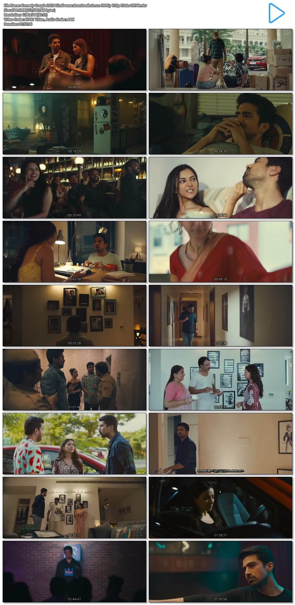 Comedy Couple 2020 Hindi 550MB HDRip 720p ESubs HEVC