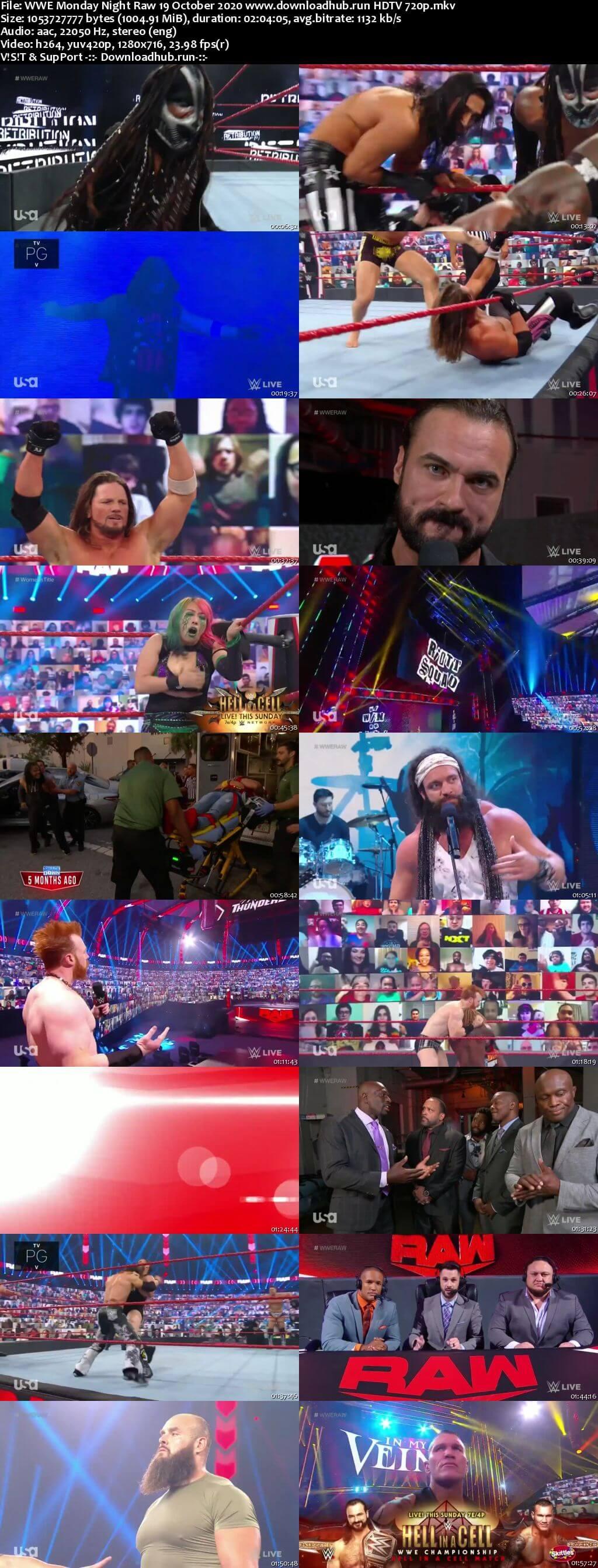 WWE Monday Night Raw 19th October 2020 720p 500MB HDTVRip 480p