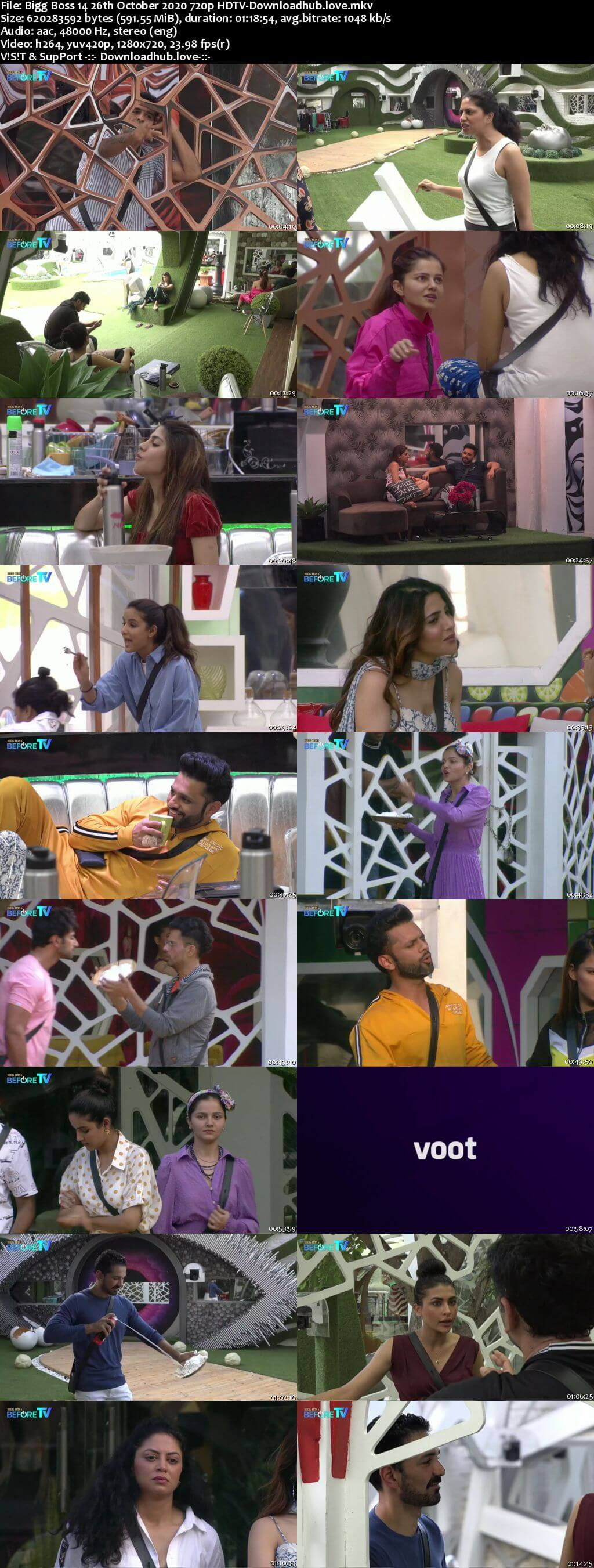 Bigg Boss 14 26th October 2020 Episode 23 720p 480p HDTV