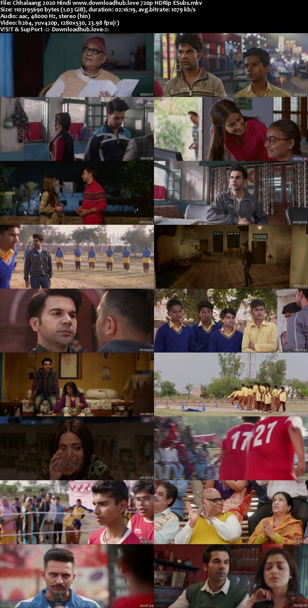 Chhalaang 2020 Hindi 720p HDRip ESubs