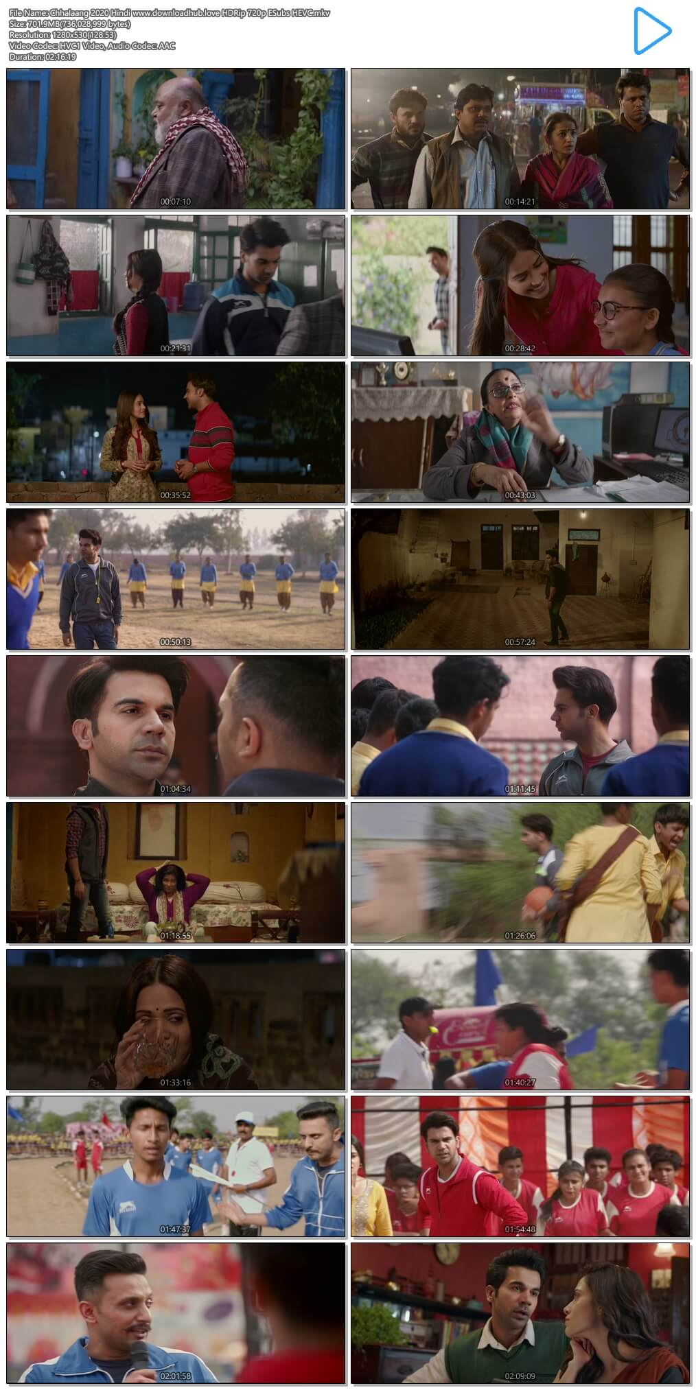 Chhalaang 2020 Hindi 700MB HDRip 720p ESubs HEVC