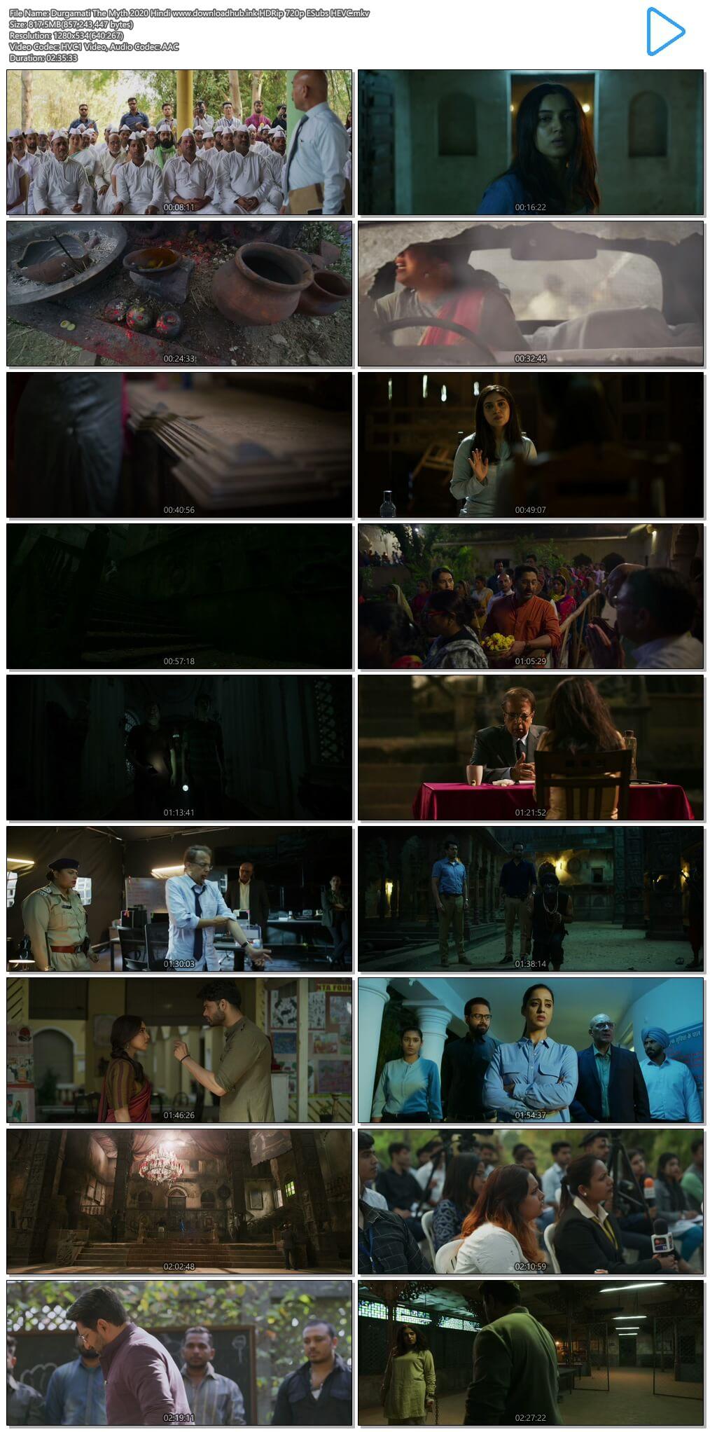 Durgamati The Myth 2020 Hindi 800MB HDRip 720p ESubs HEVC