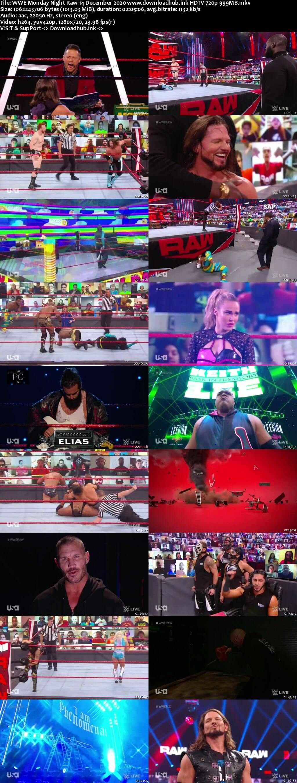 WWE Monday Night Raw 14th December 2020 720p 500MB HDTVRip 480p