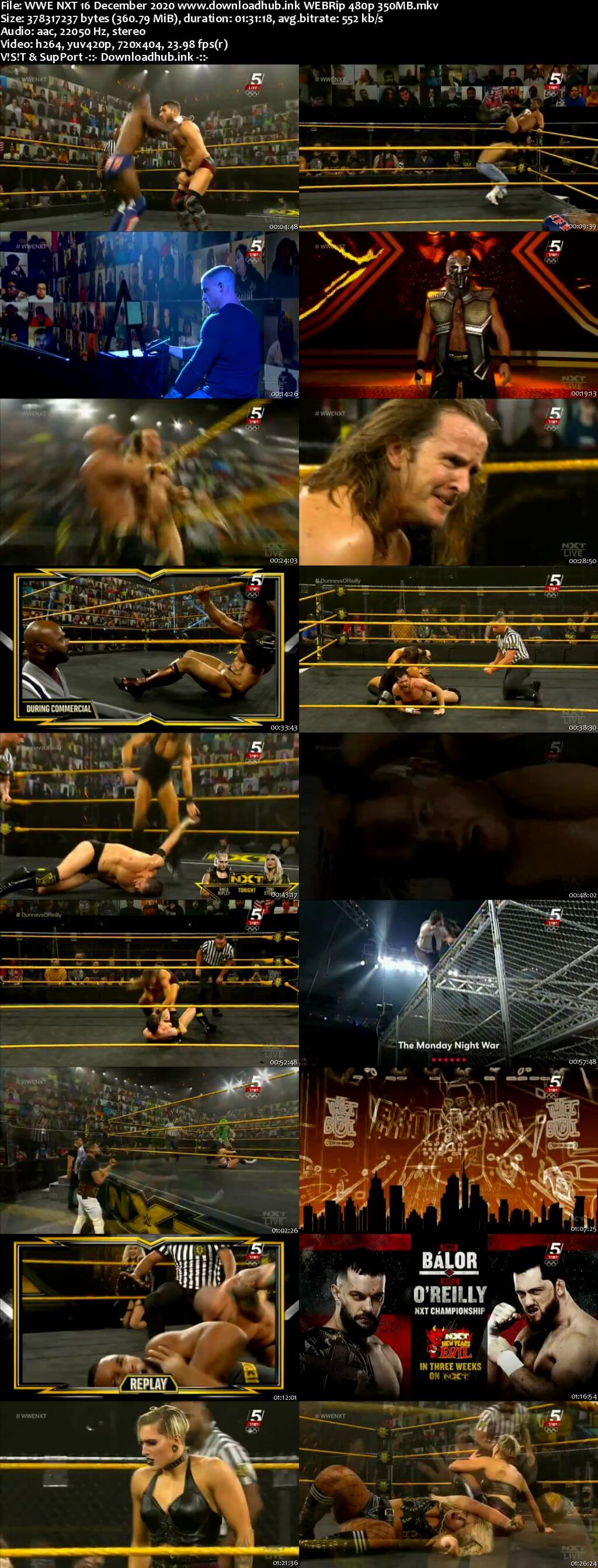 WWE NXT 16th December 2020 350MB HDTV 480p