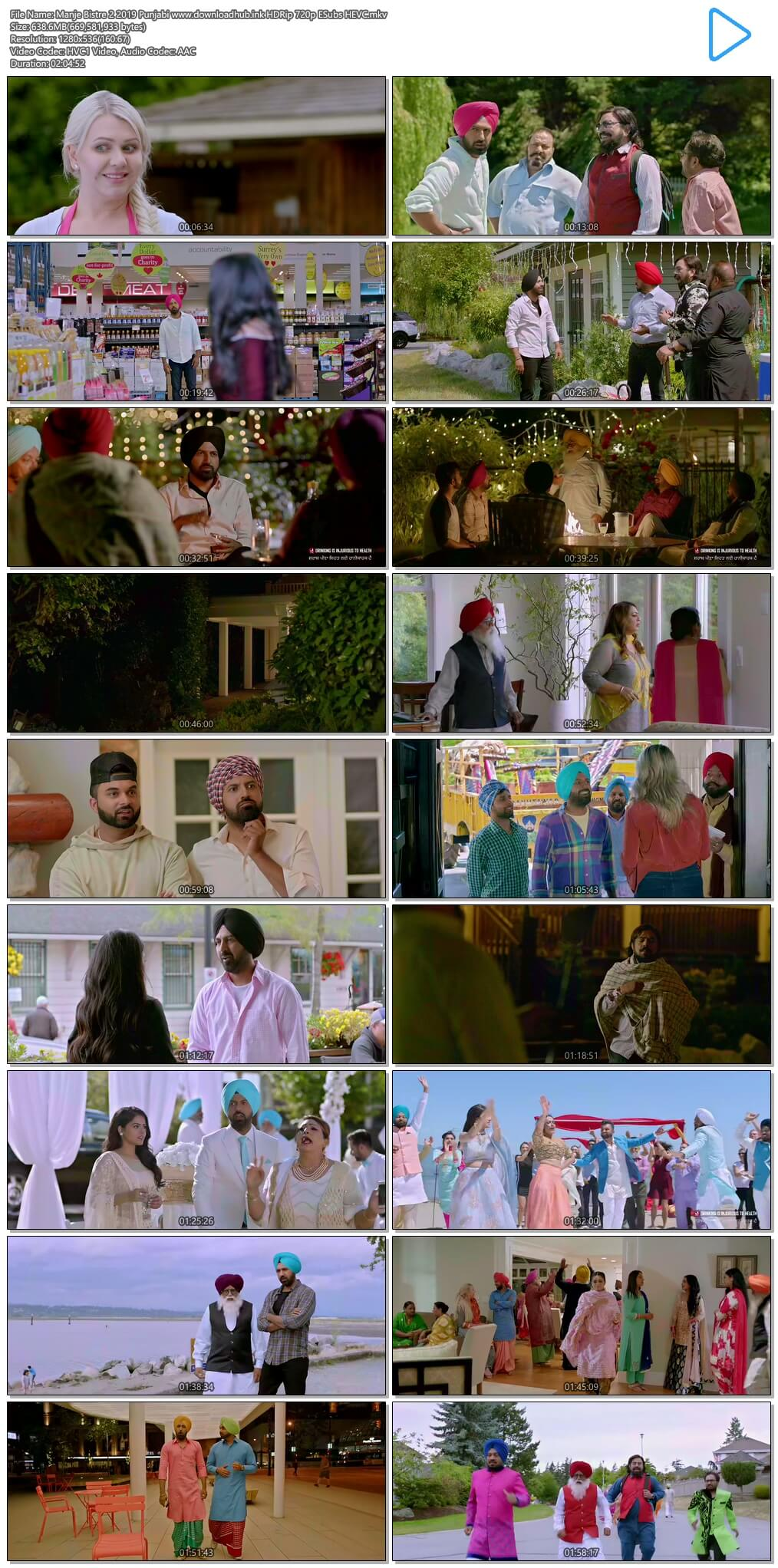 Manje Bistre 2 2019 Punjabi 600MB HDRip 720p ESubs HEVC