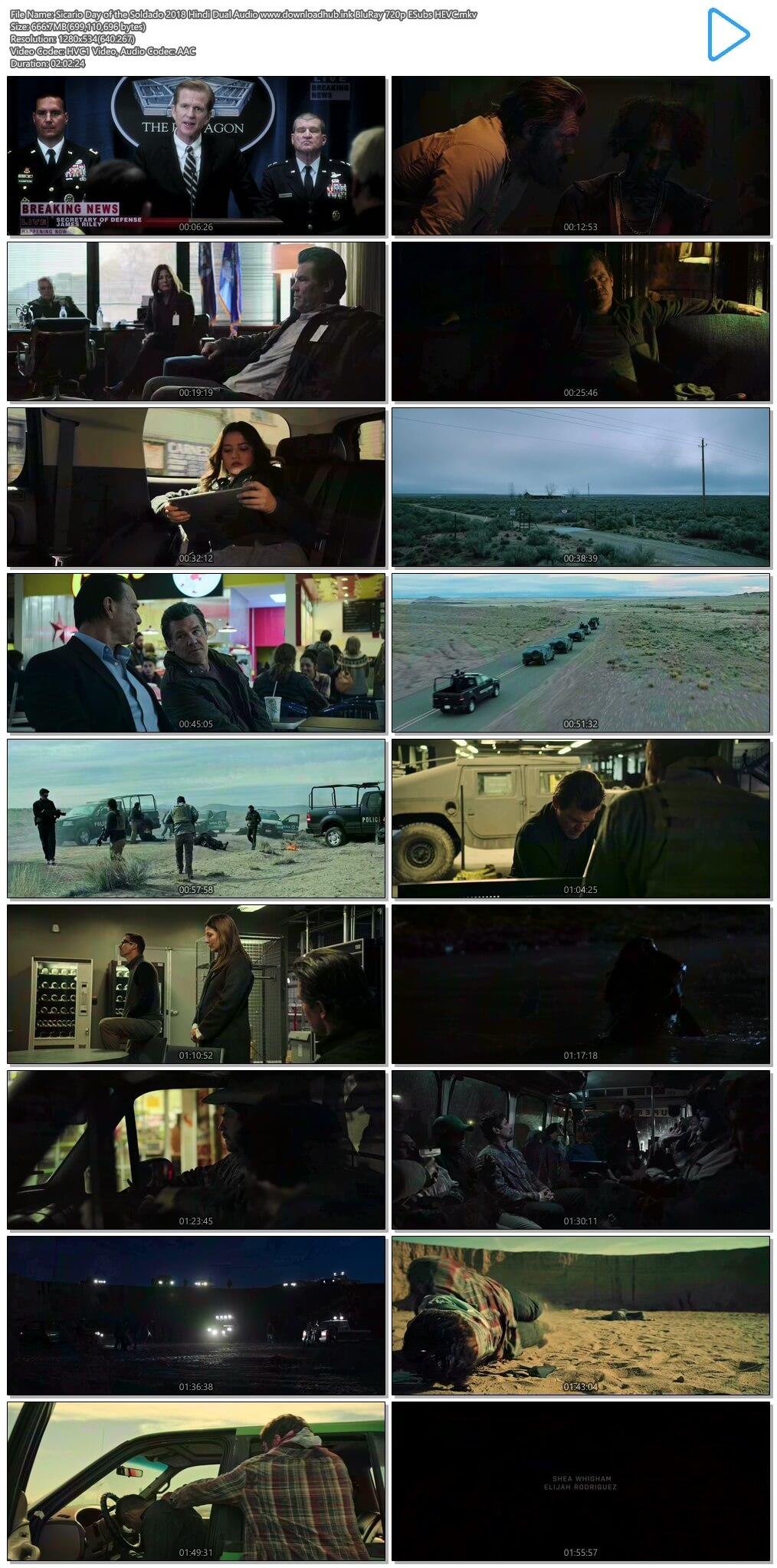 Sicario Day of the Soldado 2018 Hindi Dual Audio 650MB BluRay 720p ESubs HEVC