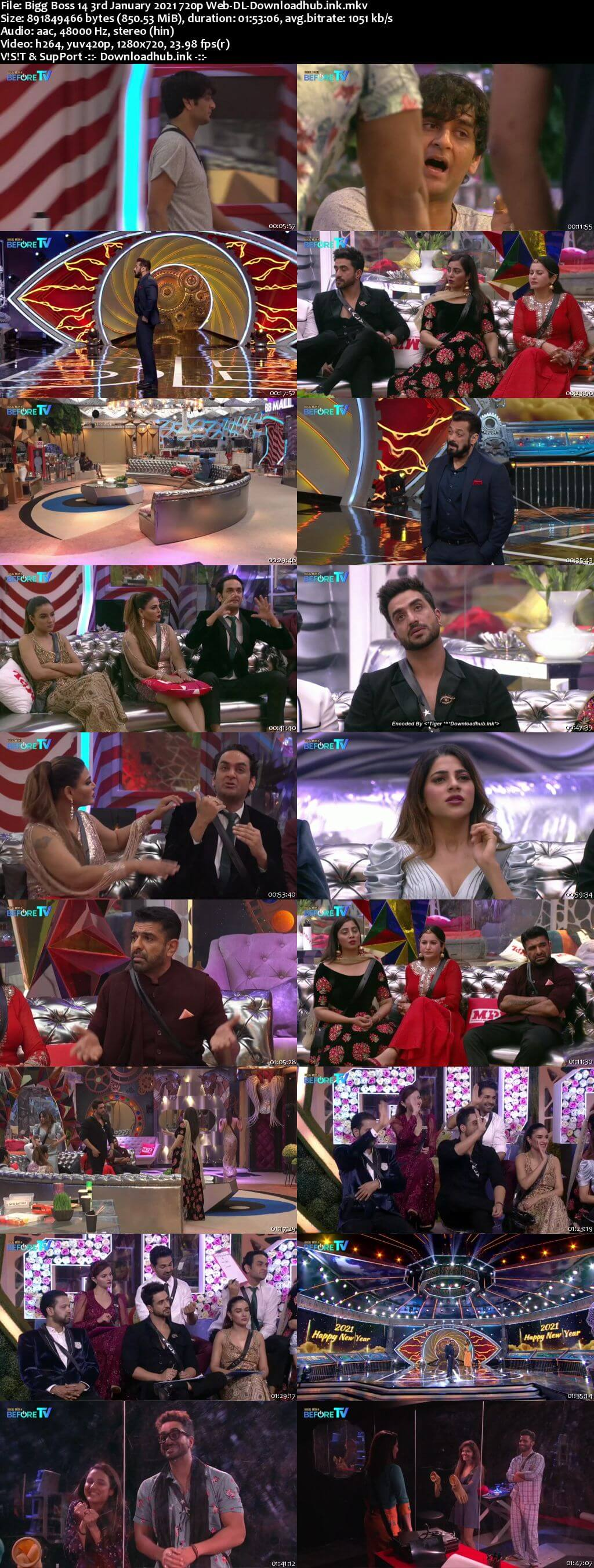 Bigg Boss 14 3rd January 2021 Episode 92 720p 480p Web-DL