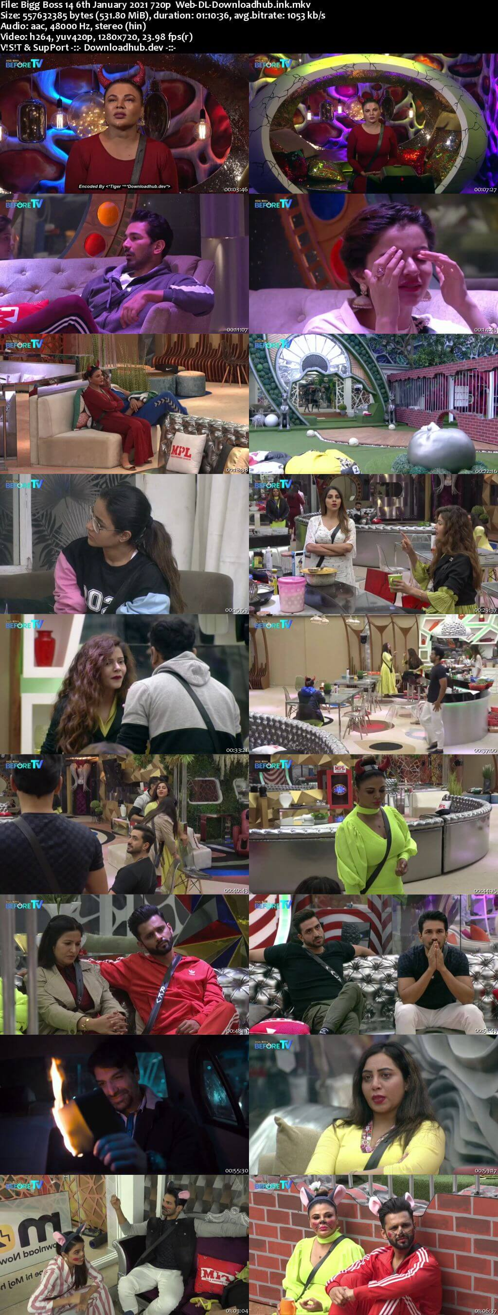 Bigg Boss 14 6th January 2021 Episode 95 720p 480p Web-DL