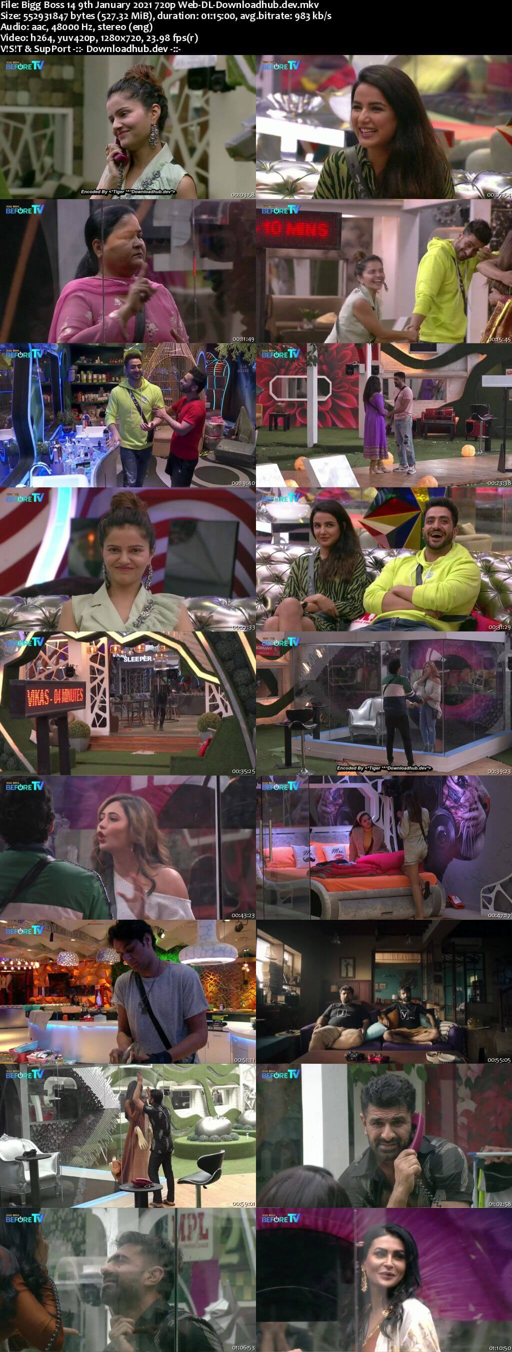 Bigg Boss 14 9th January 2021 Episode 98 720p 480p Web-DL