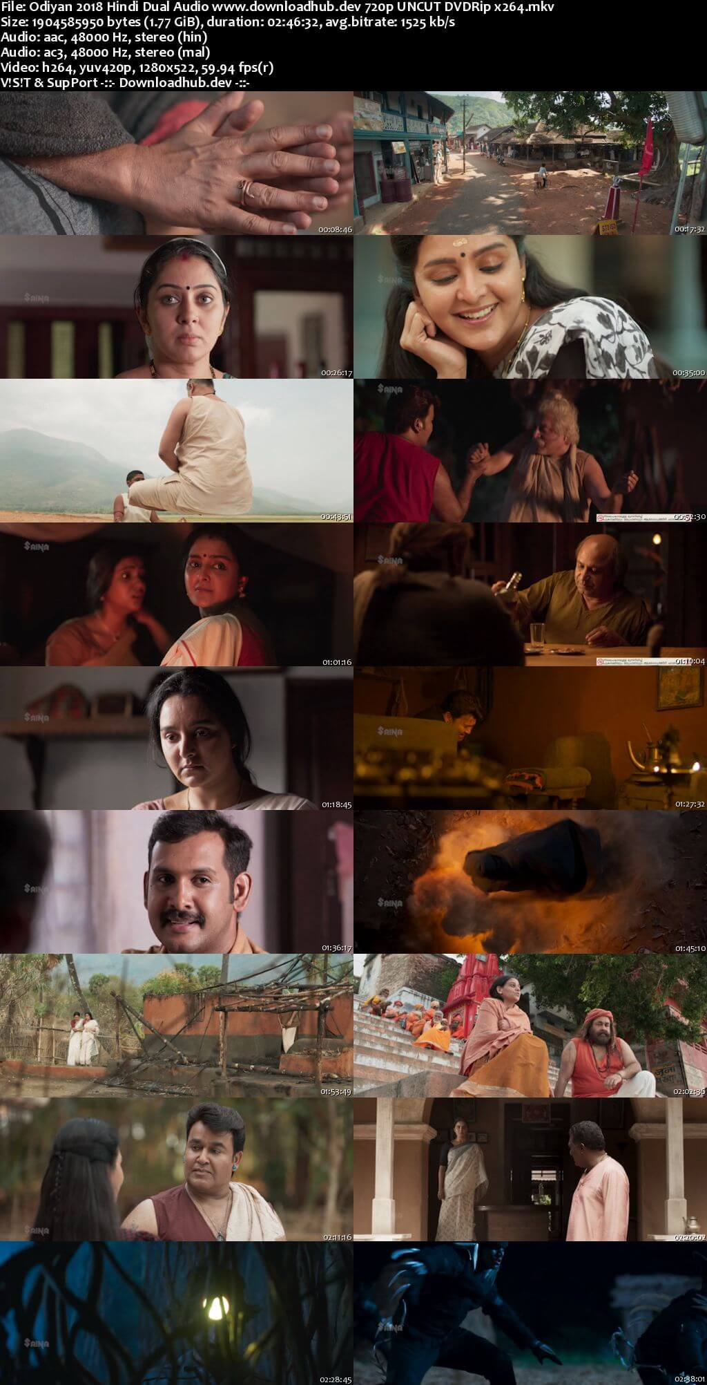 Odiyan 2018 Hindi Dual Audio 720p UNCUT DVDRip x264