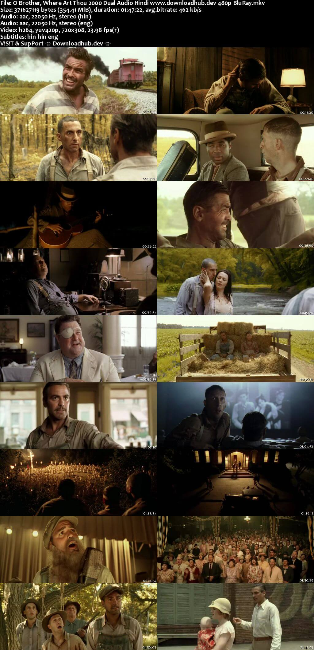 O Brother Where Art Thou? 2000 Hindi Dual Audio 350MB BluRay 480p ESubs