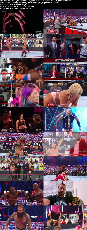 WWE Monday Night Raw 18th January 2021 720p 500MB HDTVRip 480p