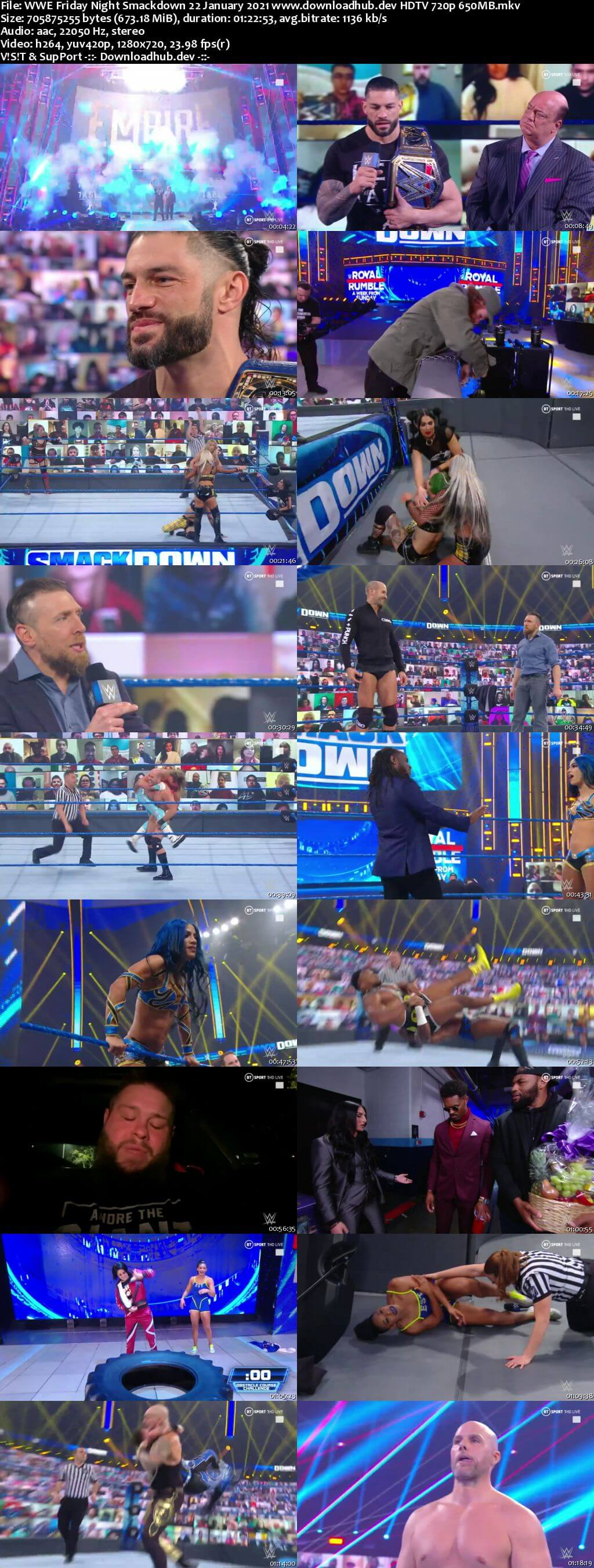 WWE Friday Night Smackdown 22nd January 2021 720p 300MB HDTV 480p