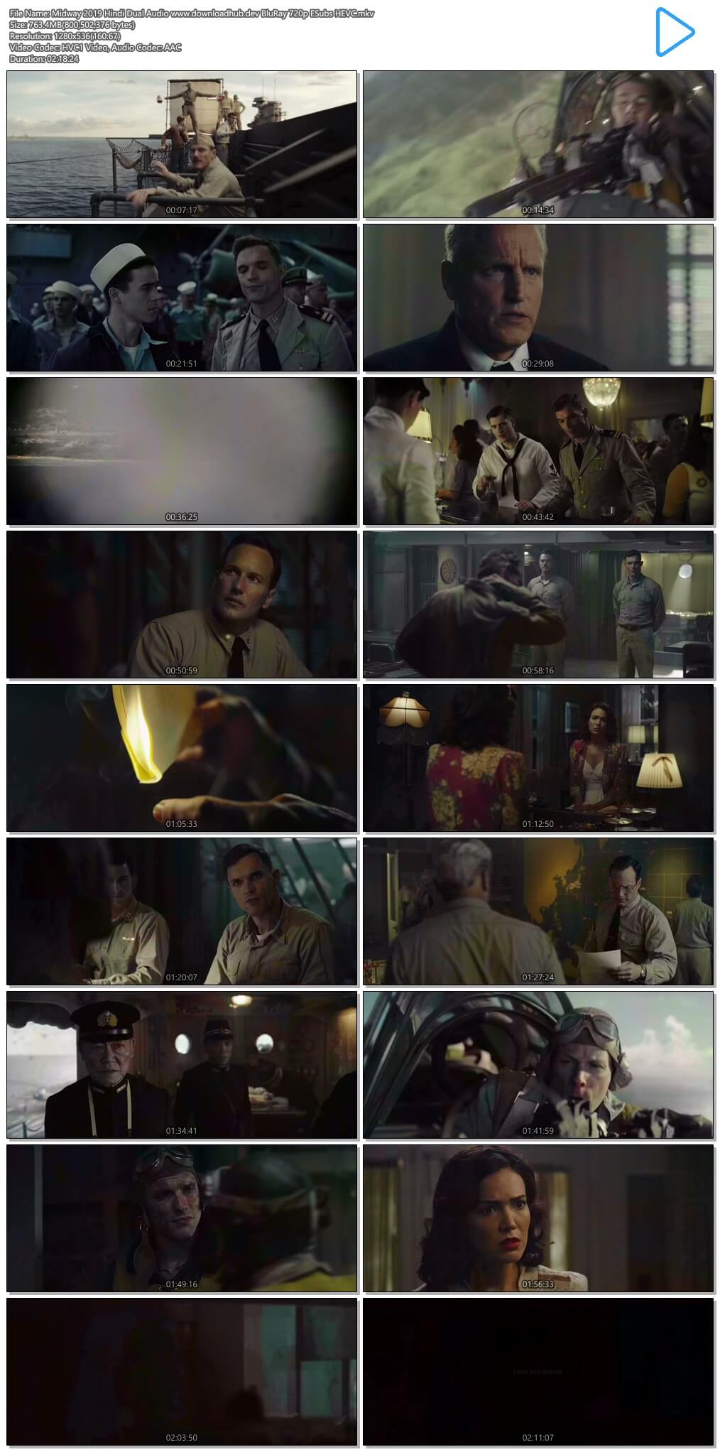 Midway 2019 Hindi Dual Audio 750MB BluRay 720p ESubs HEVC