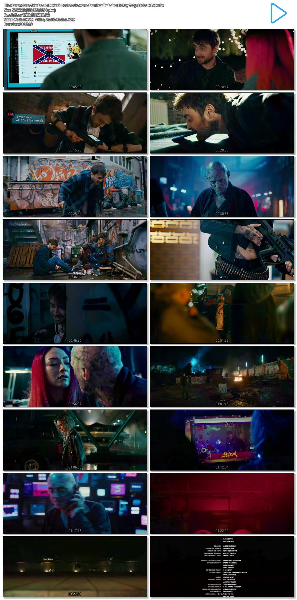 Guns Akimbo 2019 Hindi Dual Audio 500MB BluRay 720p ESubs HEVC