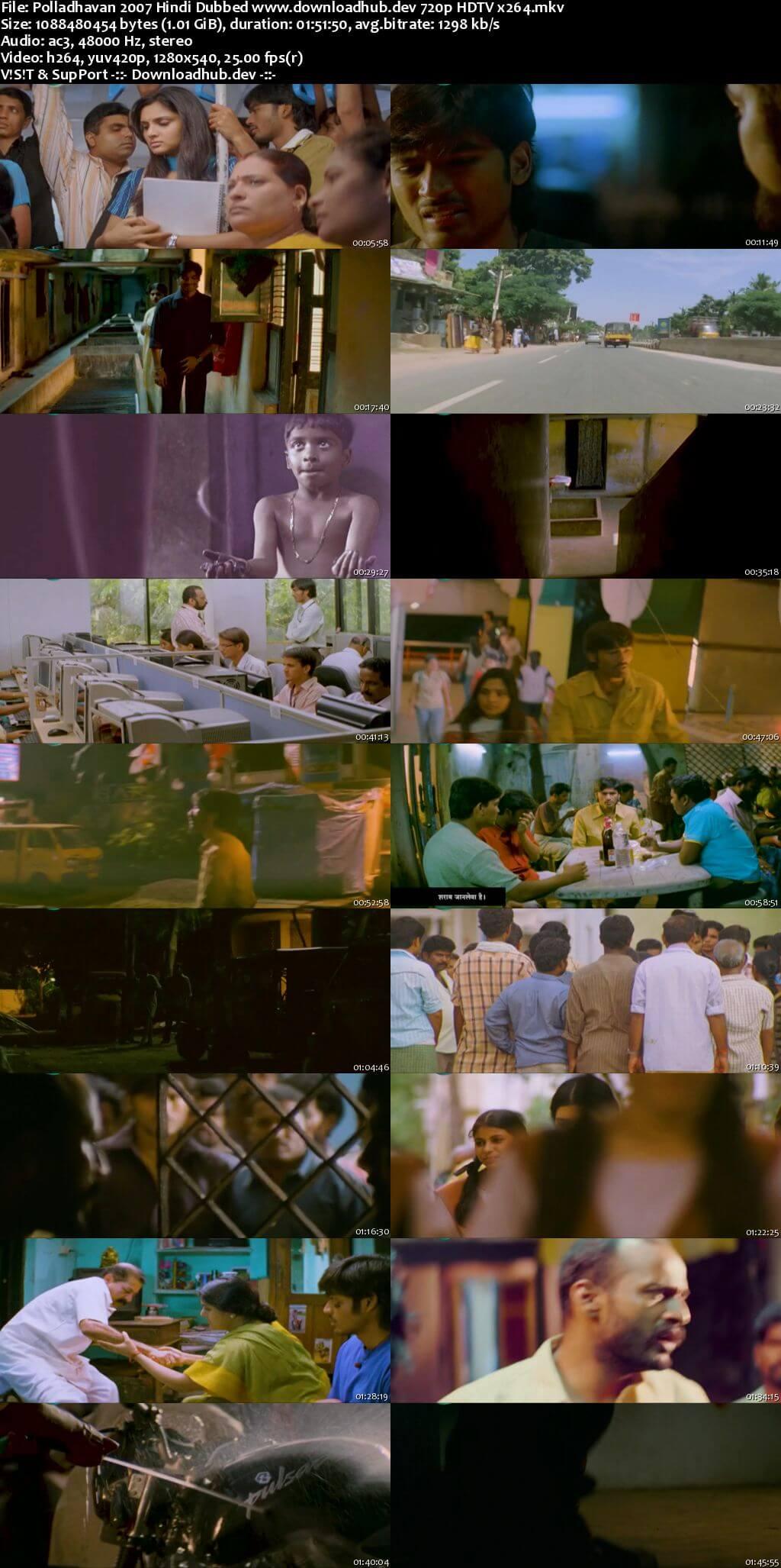 Polladhavan 2007 Hindi Dubbed 720p HDTV x264