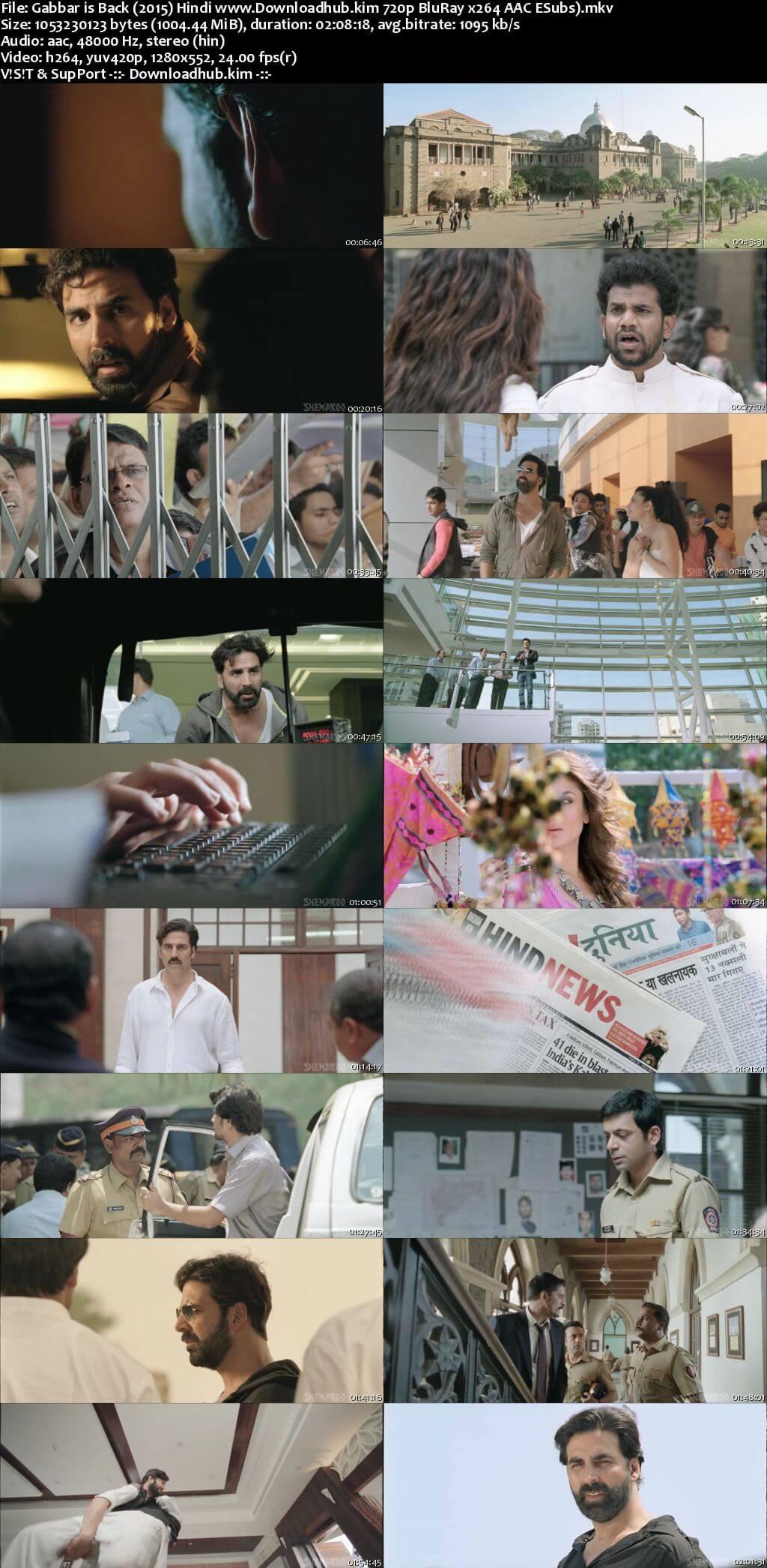 Gabbar Is Back 2015 Hindi 720p BluRay ESubs