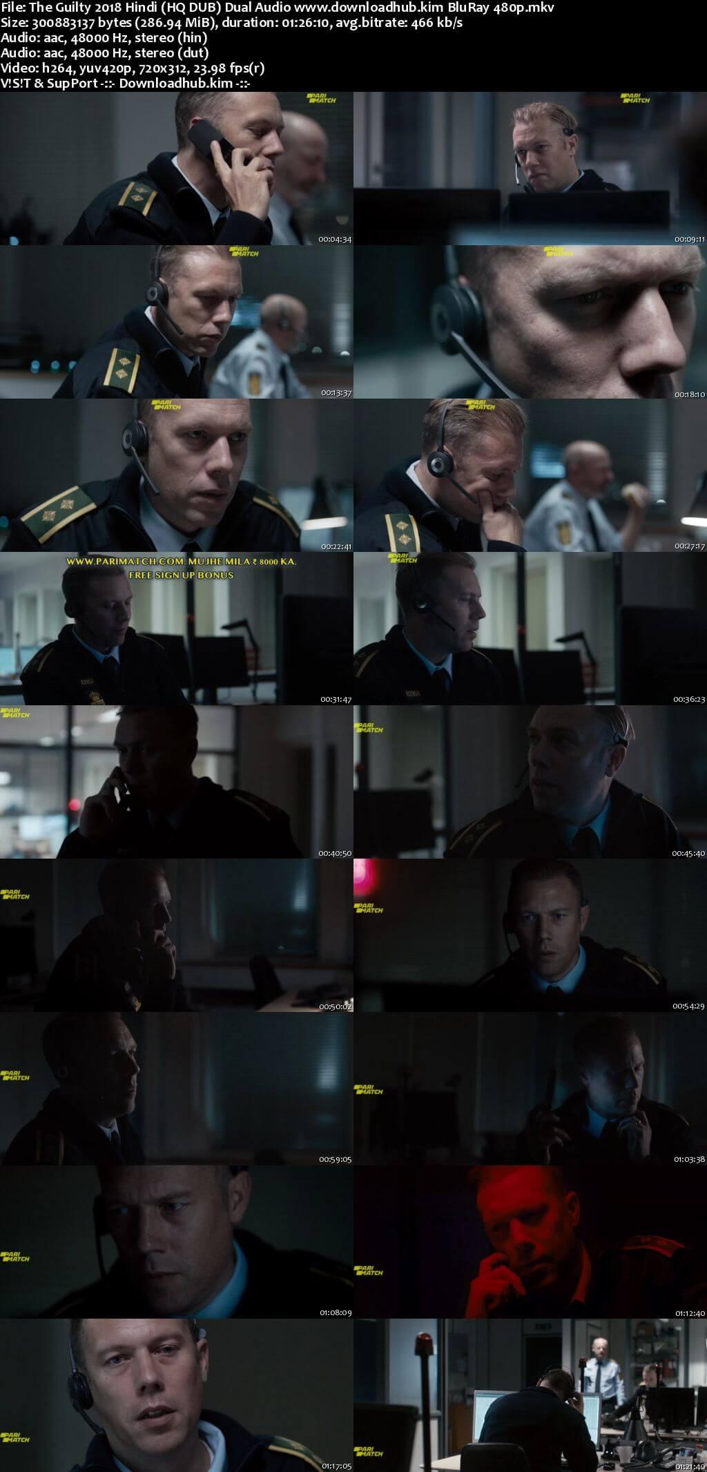The Guilty 2018 Hindi (HQ DUB) Dual Audio 280MB BluRay 480p