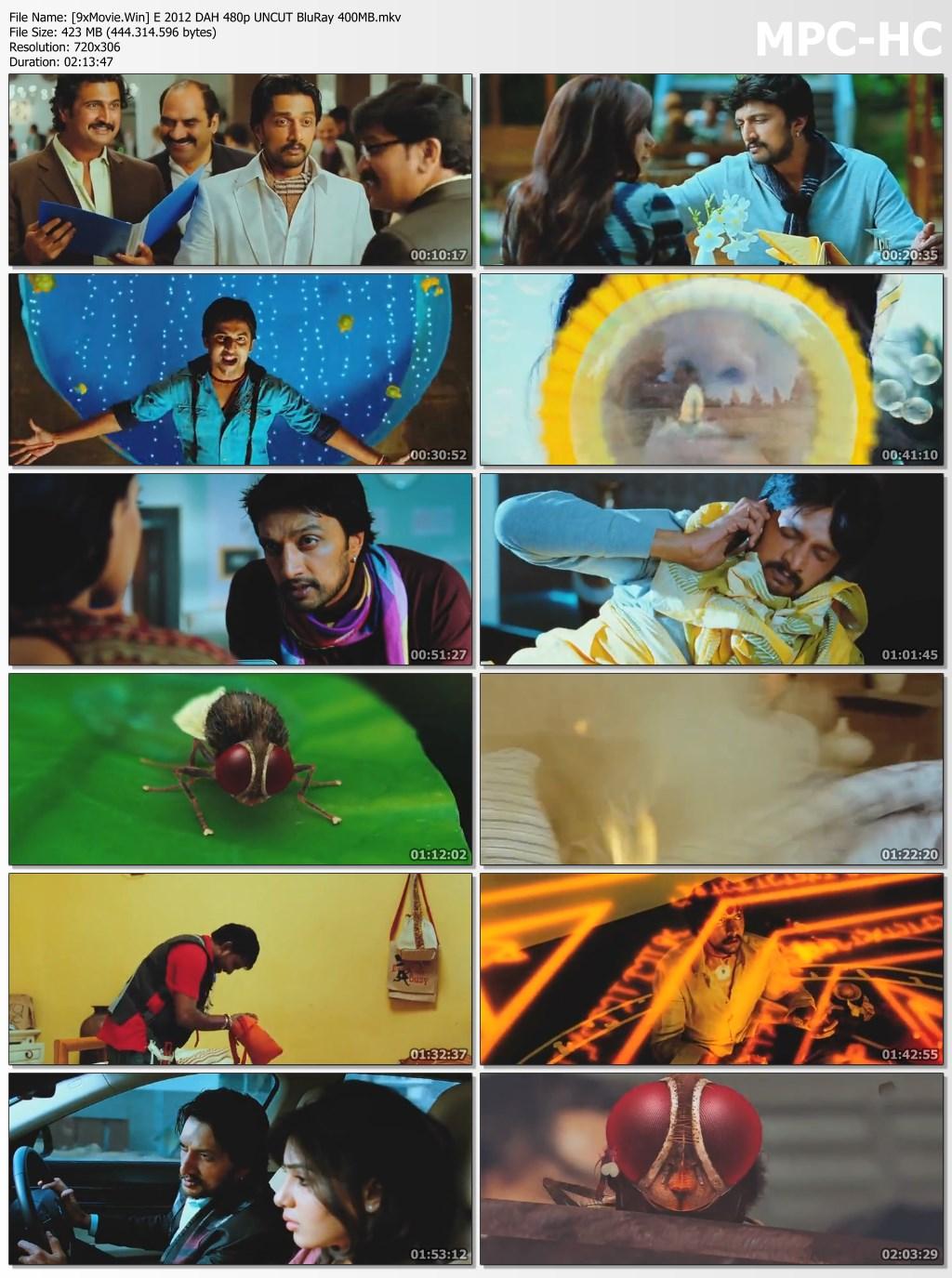 Eega 2012 Dual Audio Hindi 480p UNCUT BluRay x264 400MB