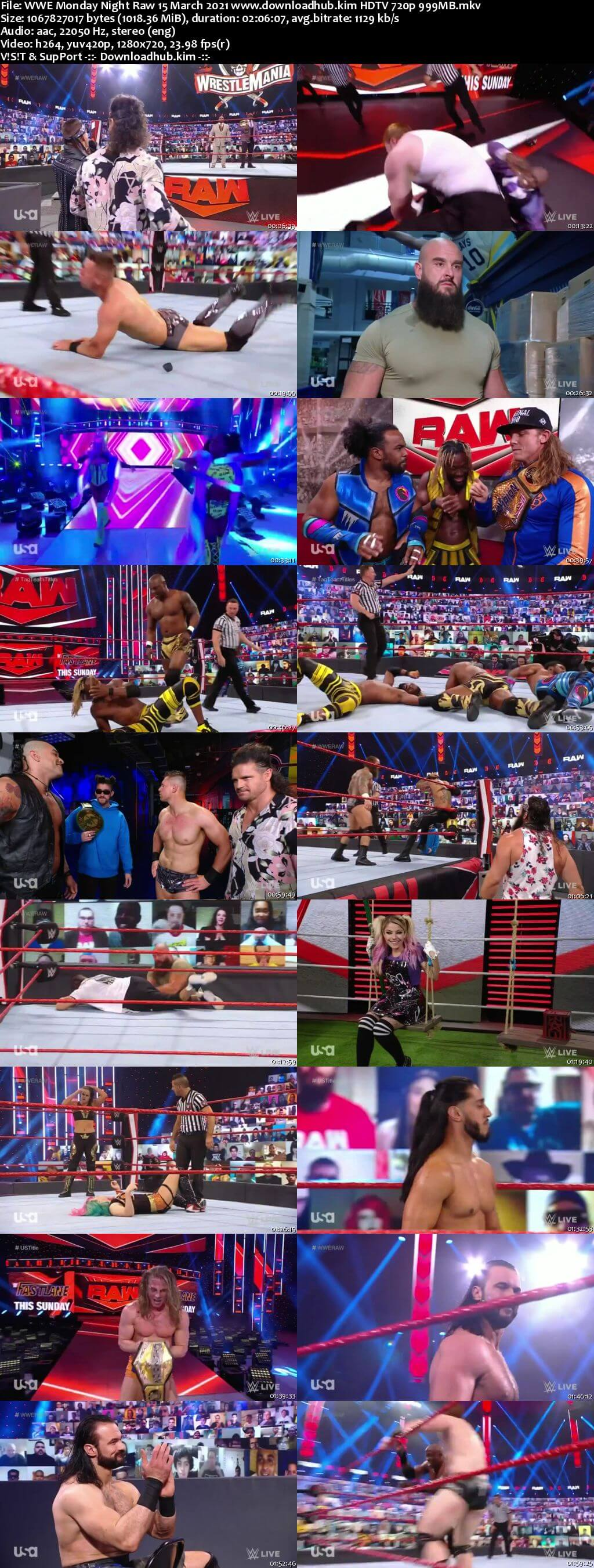 WWE Monday Night Raw 15th March 2021 720p 500MB HDTVRip 480p