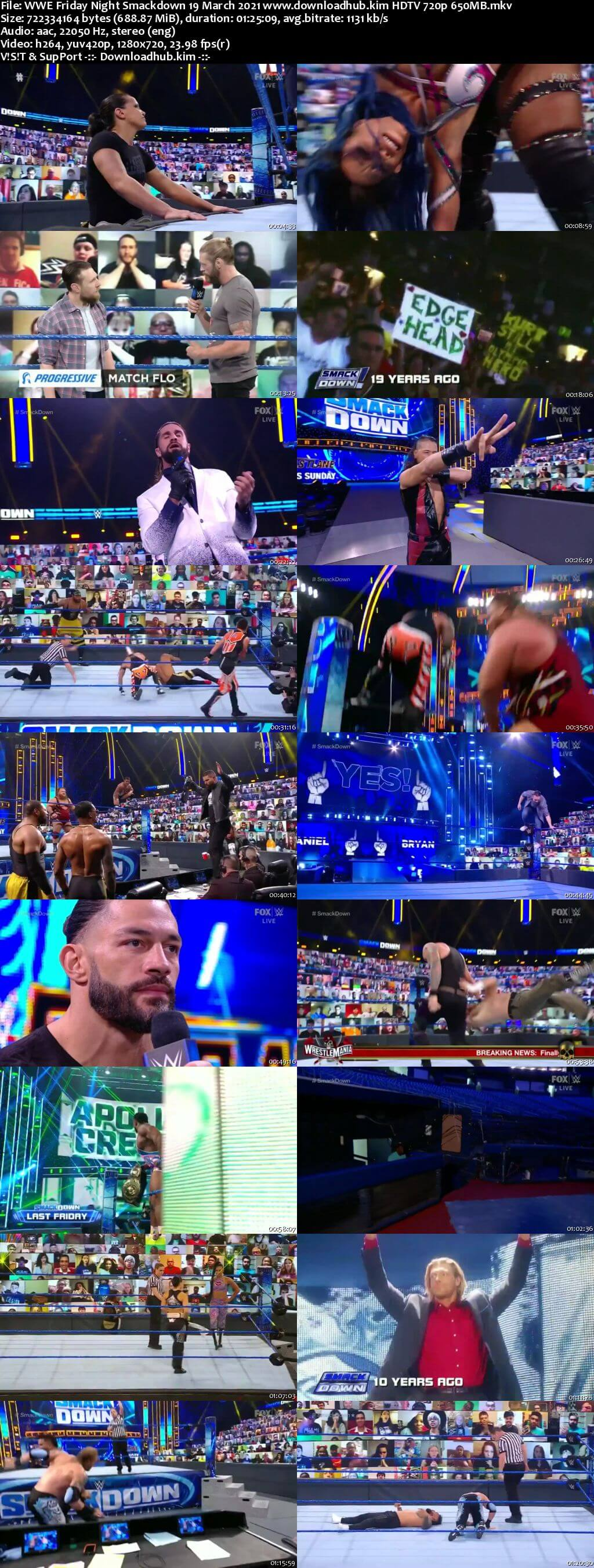 WWE Friday Night Smackdown 19th March 2021 720p 300MB HDTV 480p
