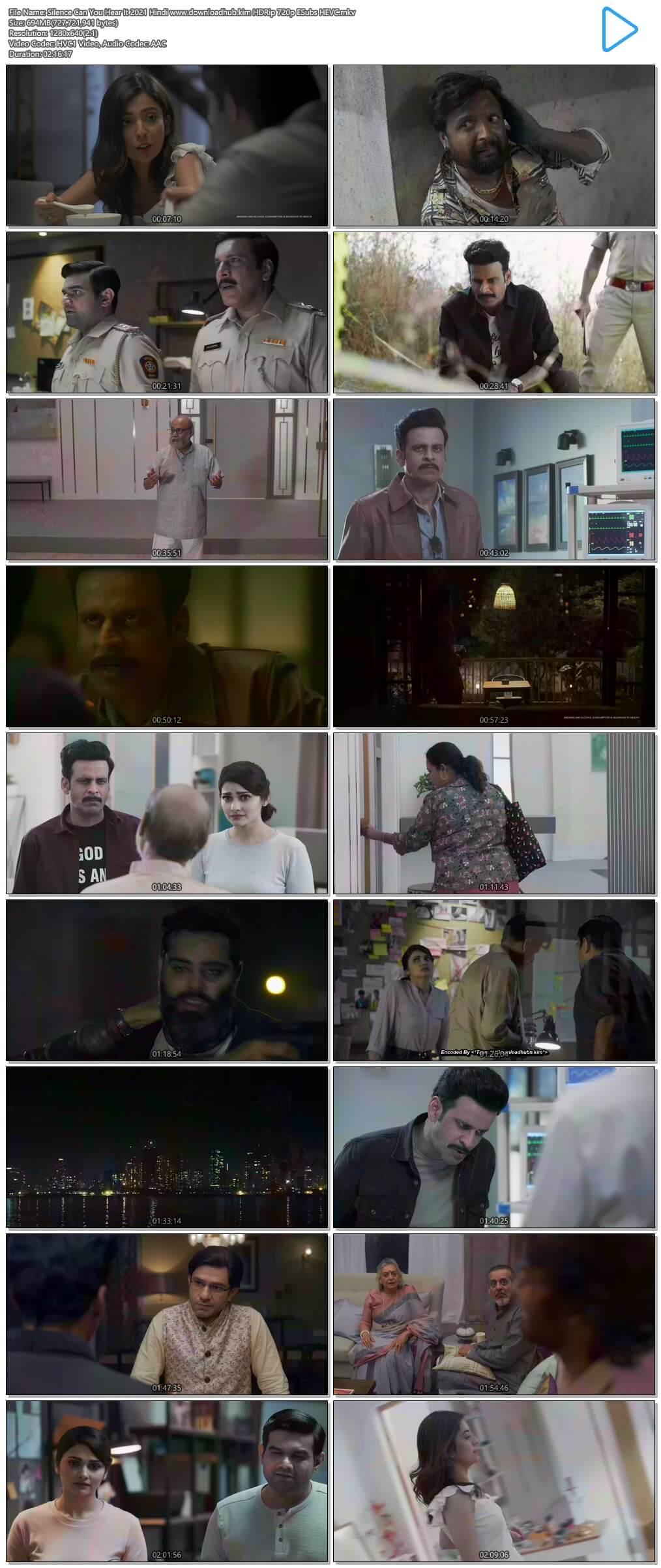 Silence Can You Hear It 2021 Hindi 700MB HDRip 720p ESubs HEVC