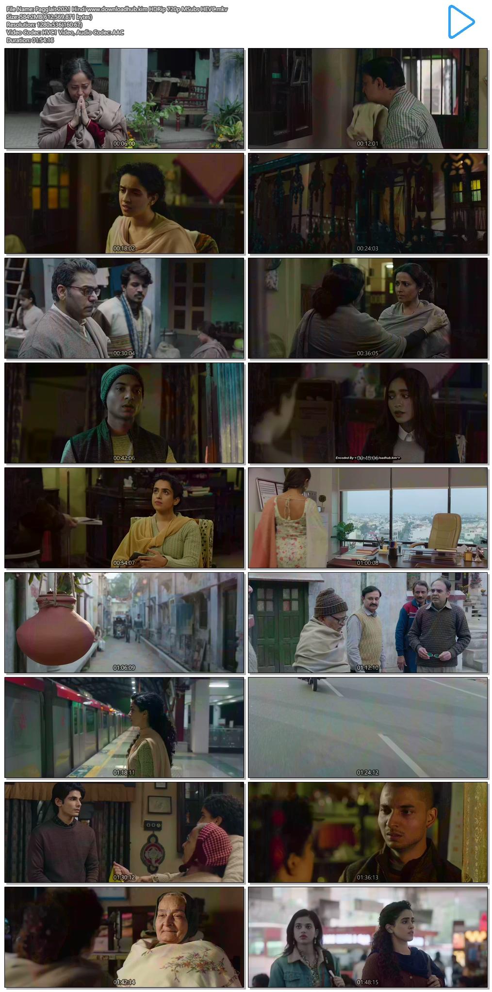 Pagglait 2021 Hindi 550MB HDRip 720p MSubs HEVC