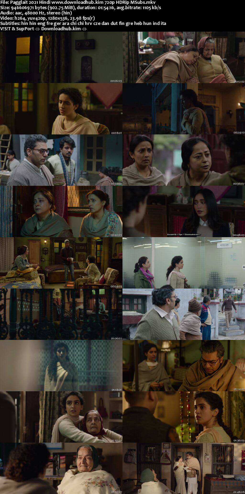Pagglait 2021 Hindi 720p HDRip MSubs