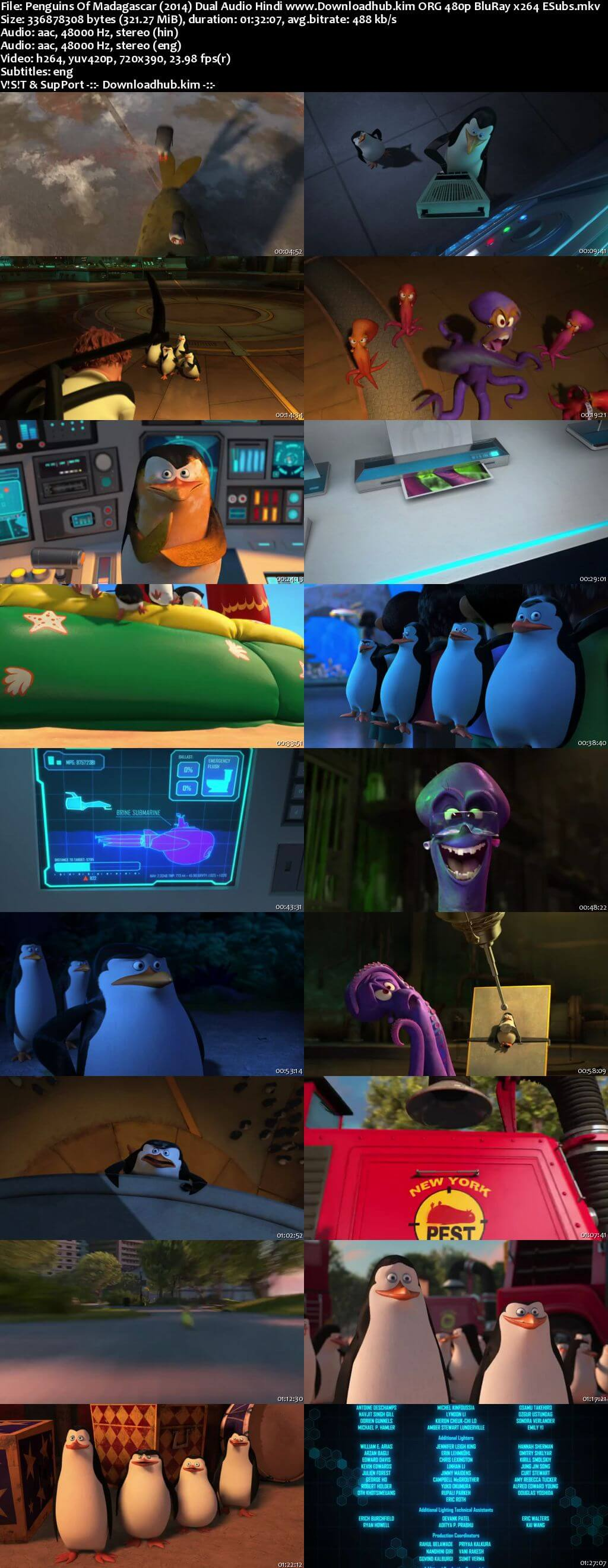 Penguins of Madagascar 2014 Hindi Dual Audio 300MB BluRay 480p ESubs
